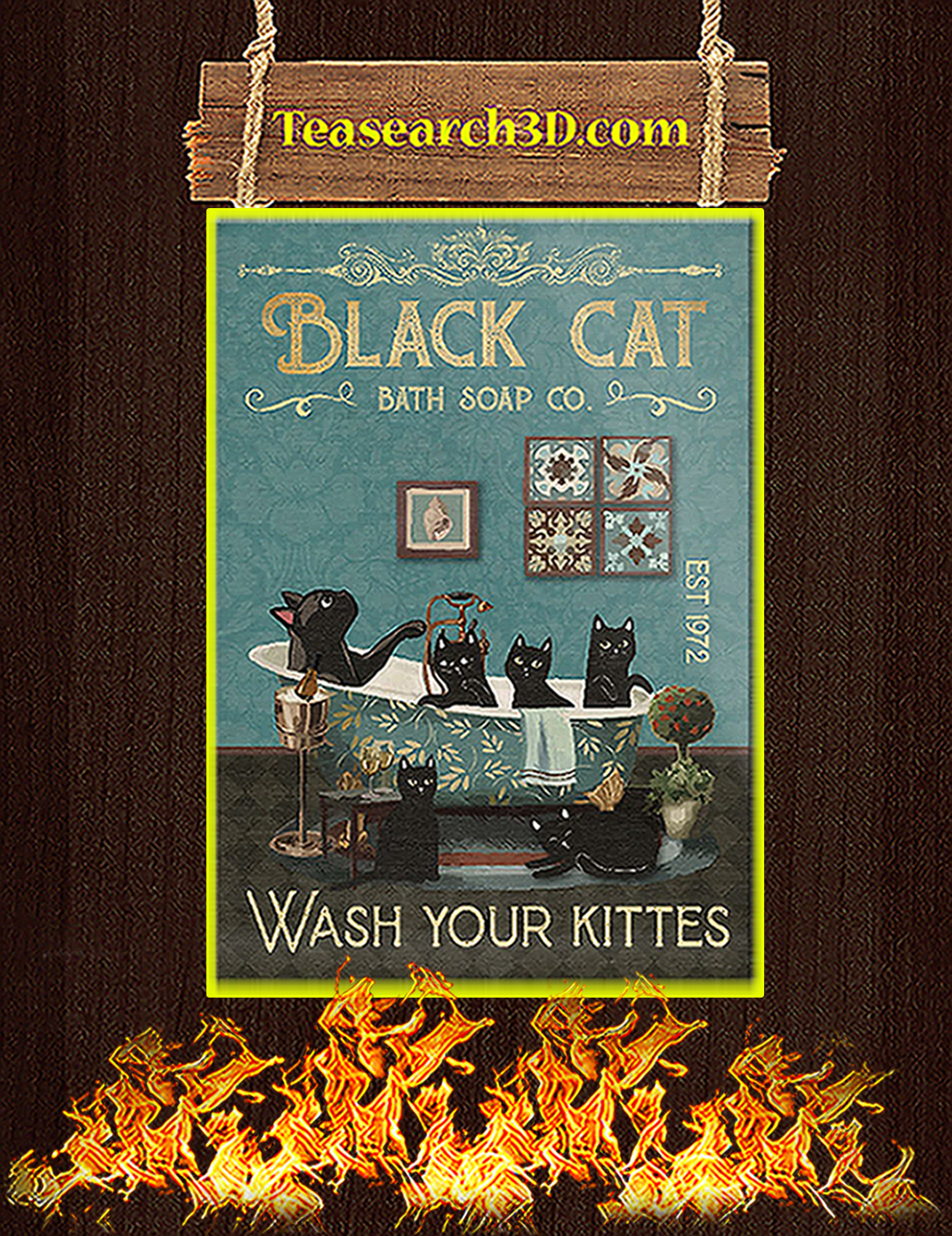 Black cat bath soap co wash your kittes poster A3