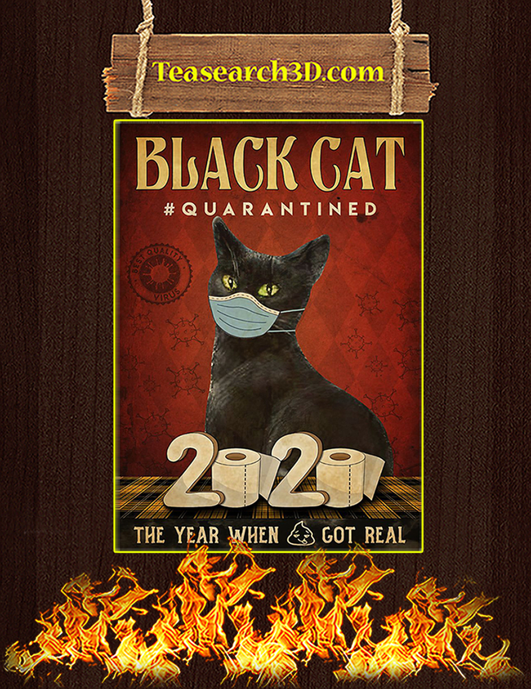 Black cat quarantined 2020 poster A2