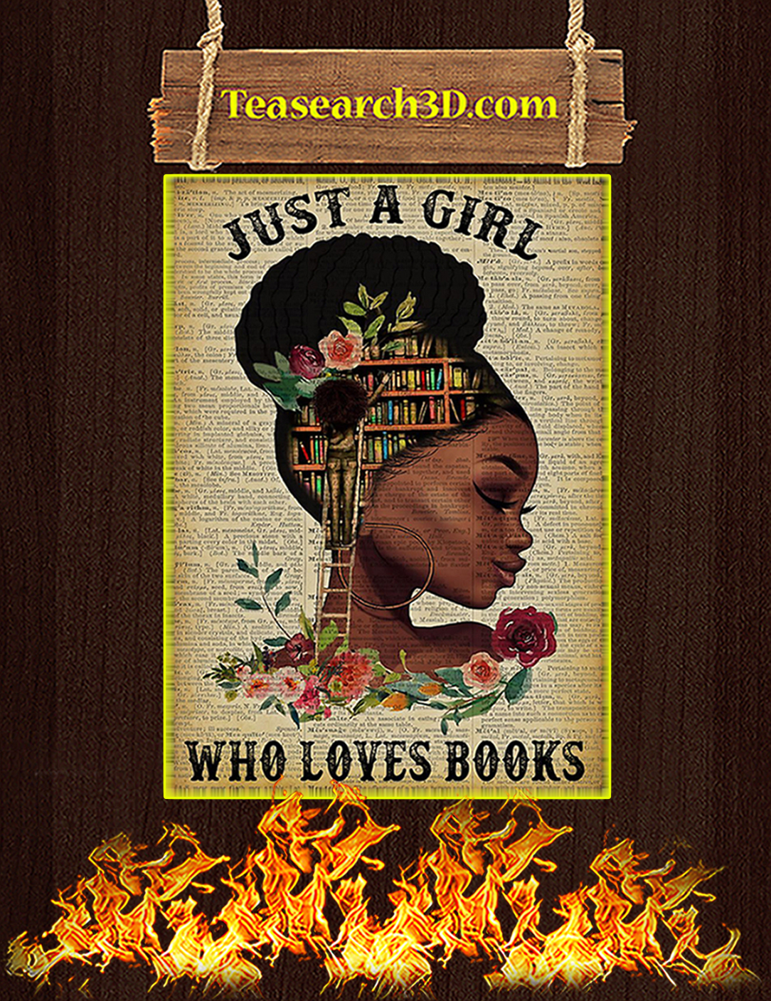 Black girl Just a girl who loves books poster A2