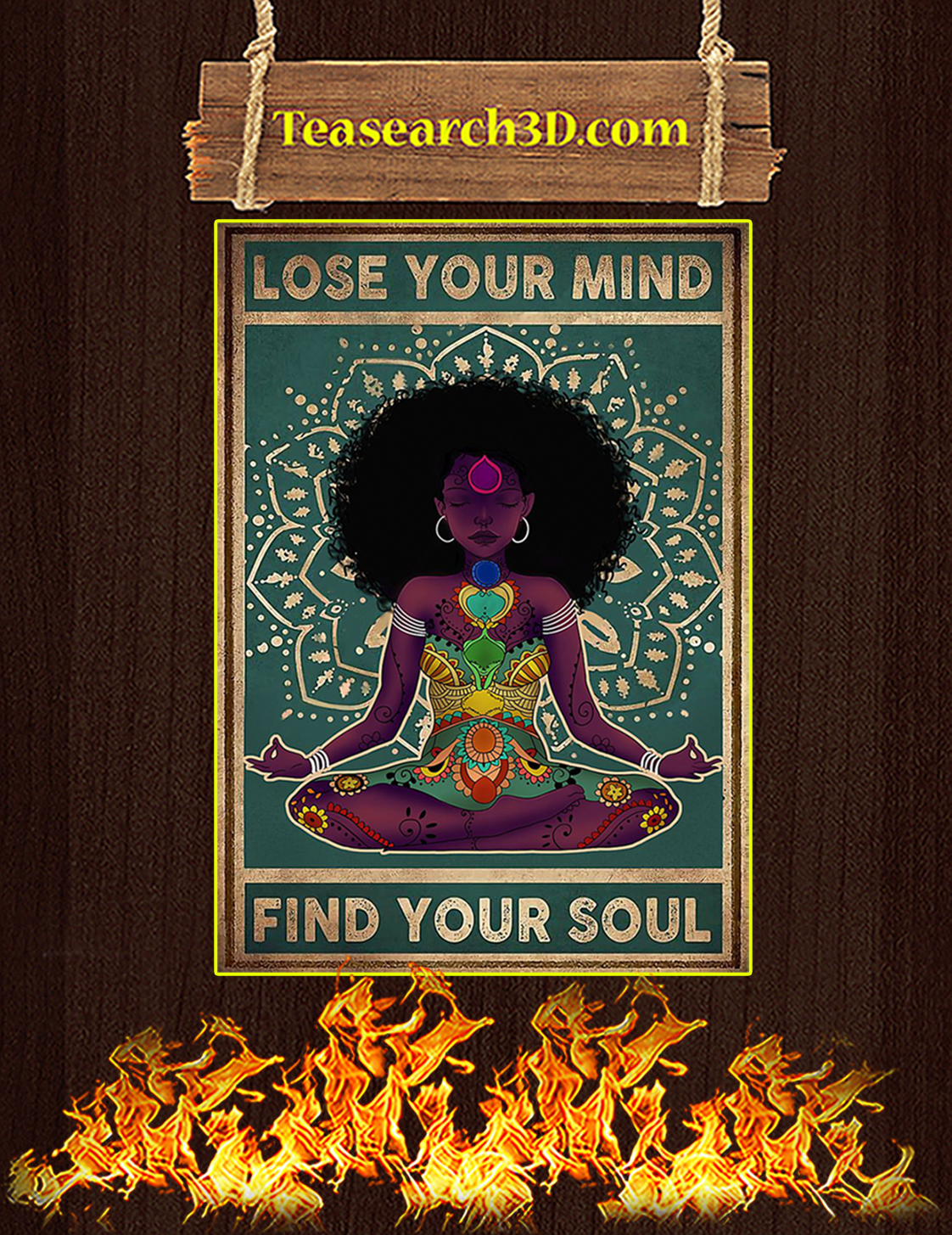 Black girl yoga Lose your mind find your soul poster A3