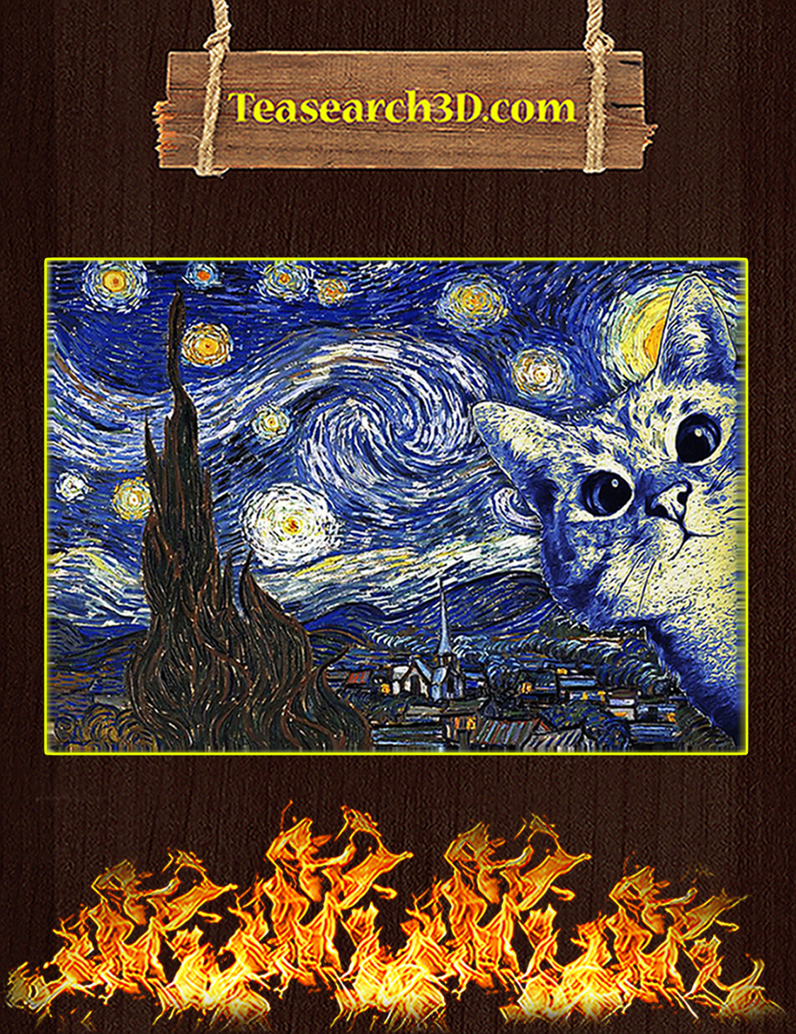 Cat Starry Night Van Gogh Poster A3