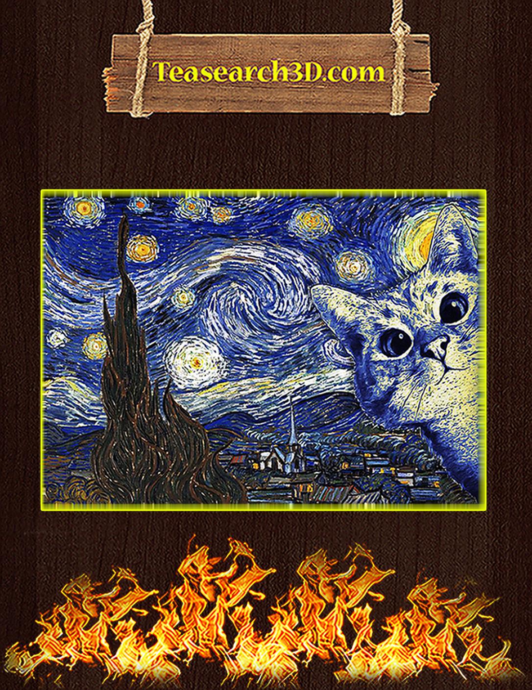 Cat Van Gogh Poster A2