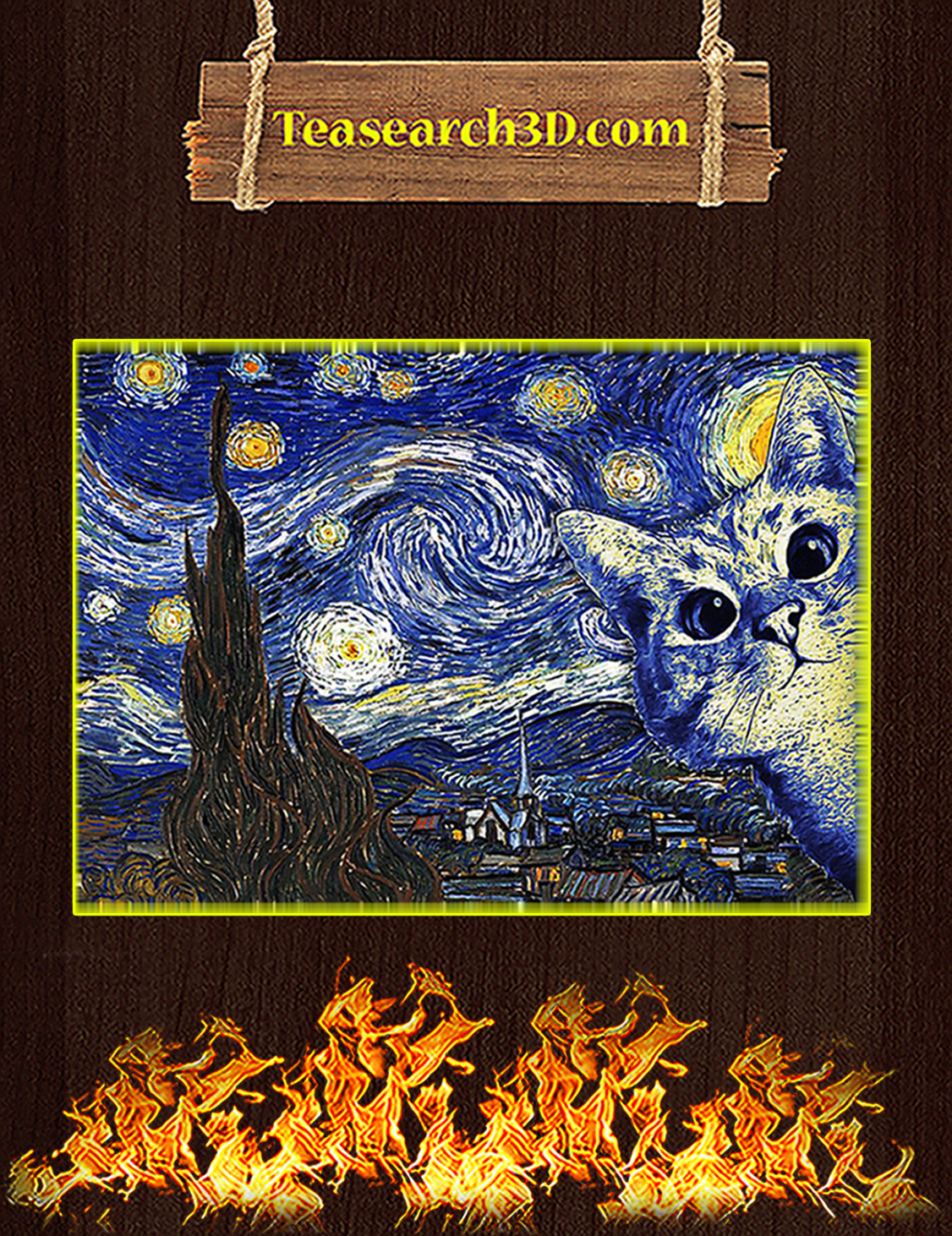 Cat The Starry Night Van Gogh Poster A3