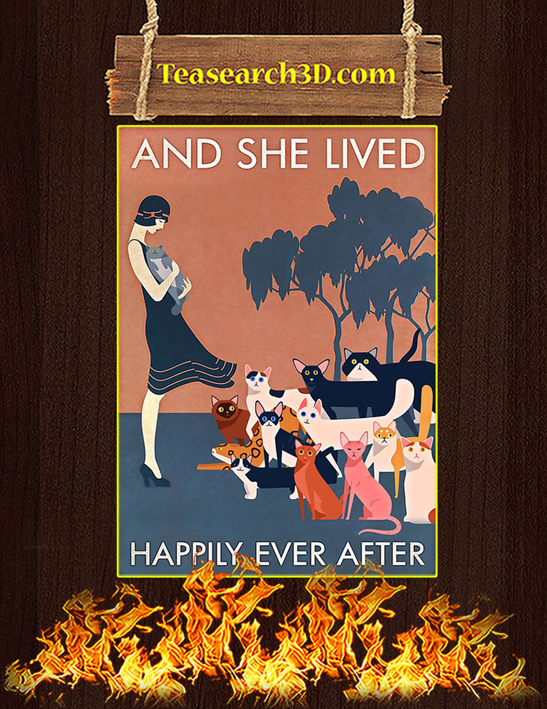 Cat and she lived happily ever after poster A3