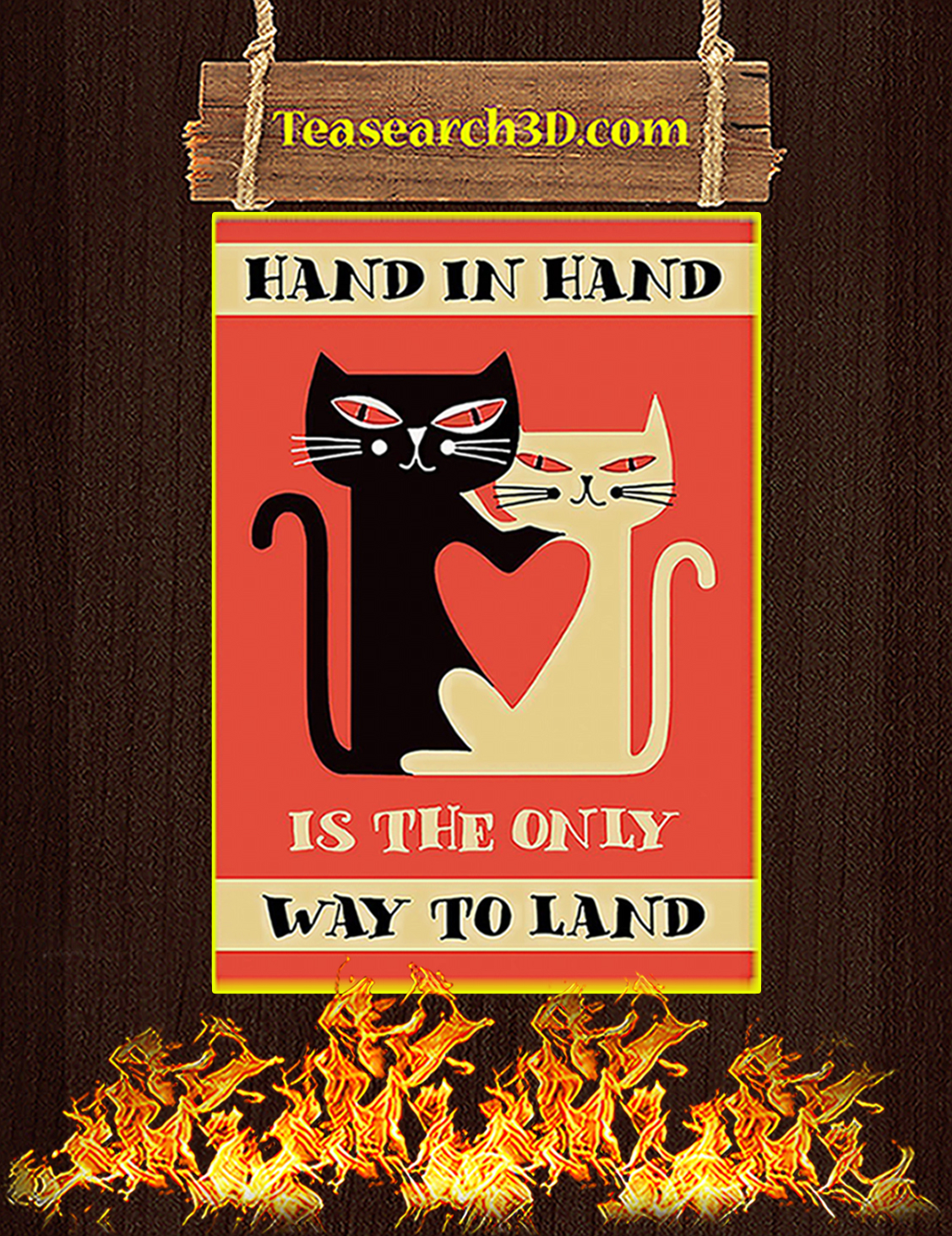 Cat hand in hand is the only way to land poster A3