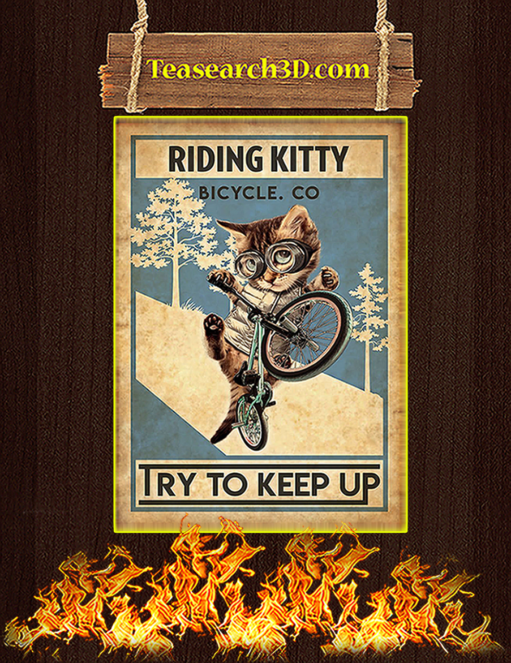 Cat riding kitty bicycle co try to keep up poster A1