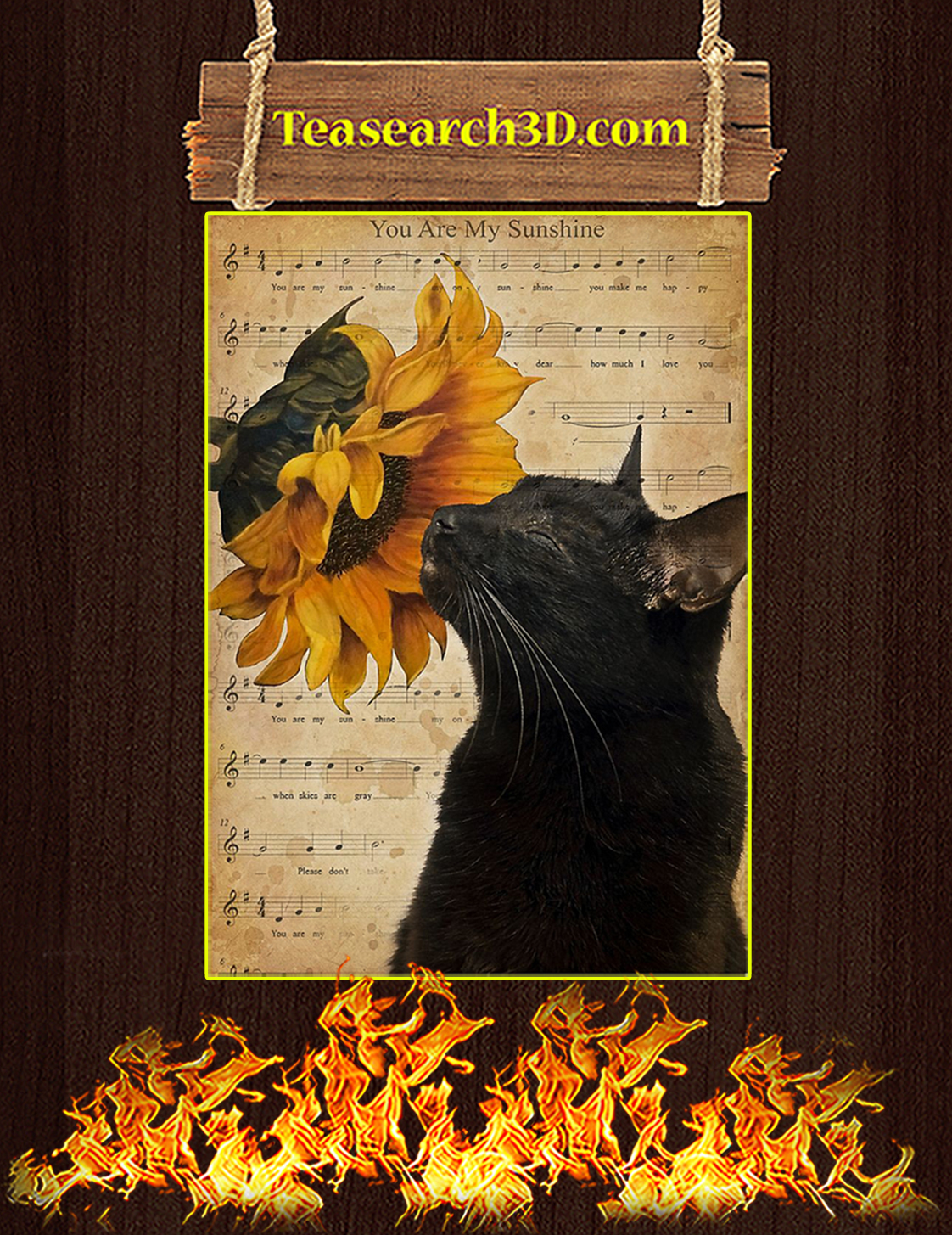 Cat sunflower you are my sunshine poster A3