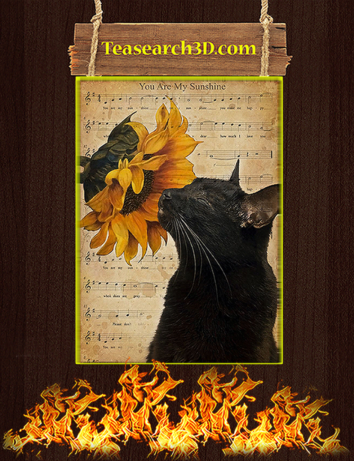 Cat you are my sunshine poster A3