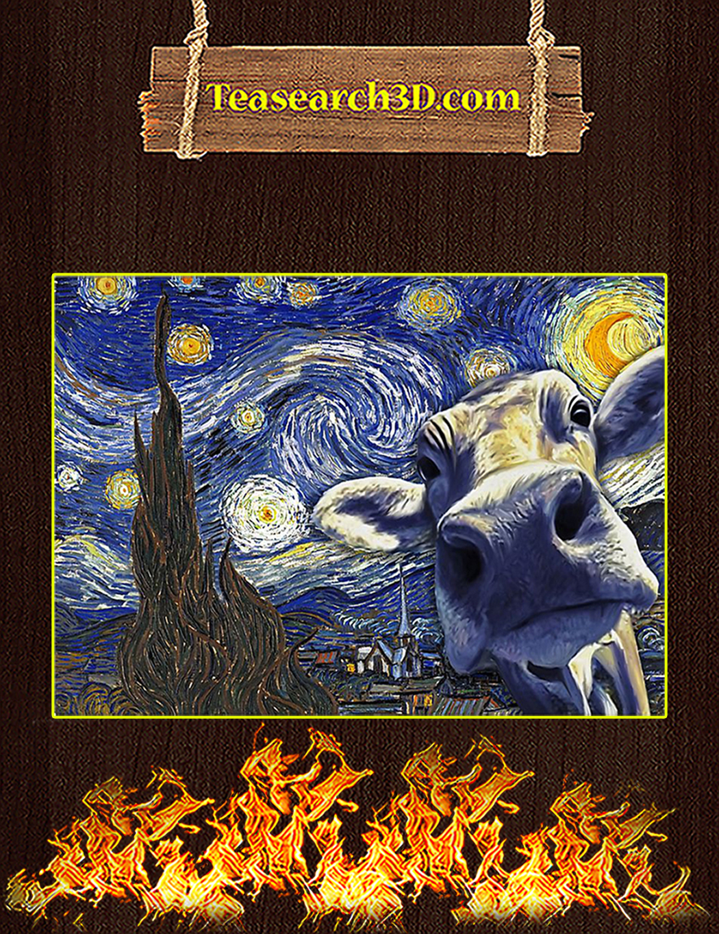 Cow van gogh starry night poster A1