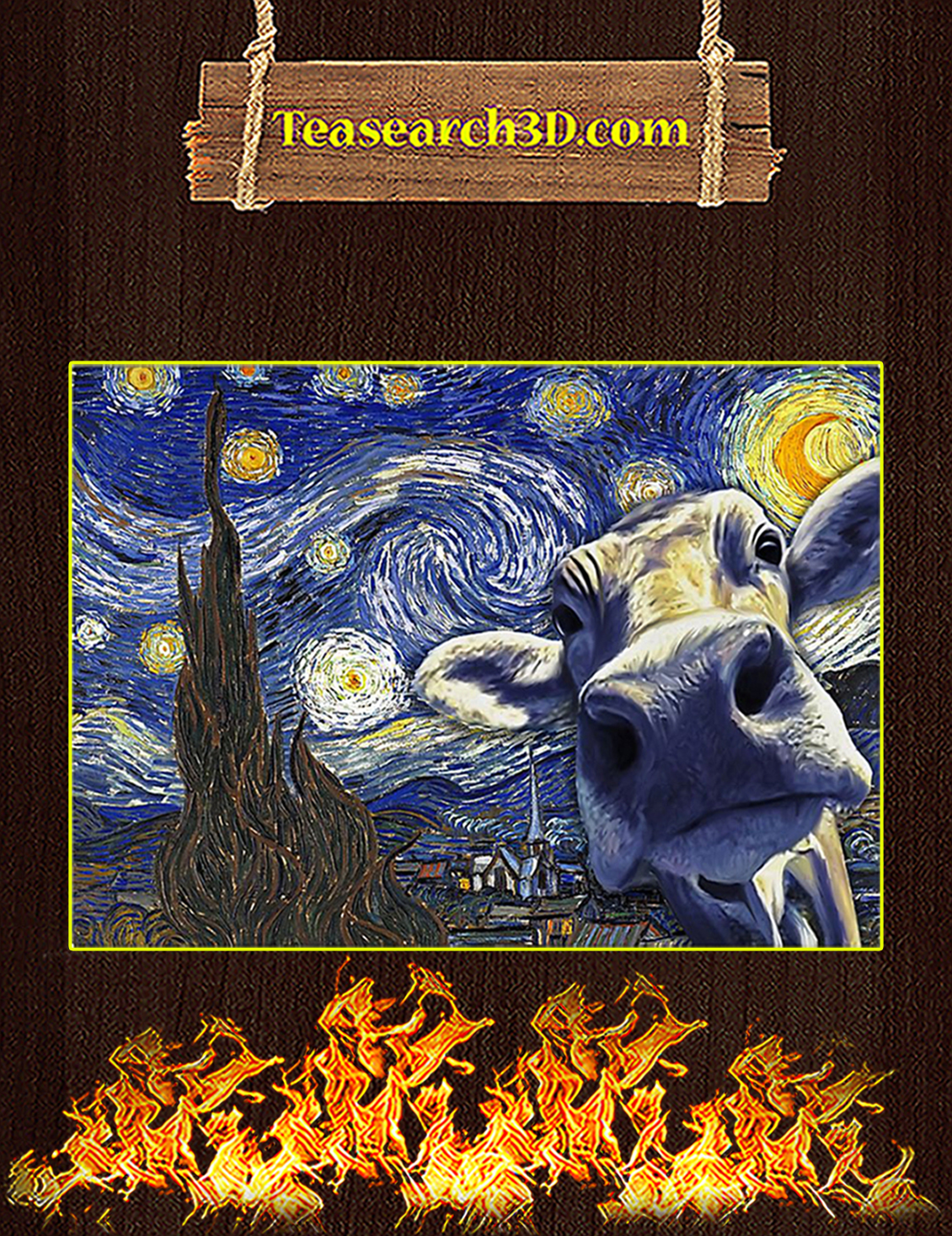 Cow van gogh starry night poster A3