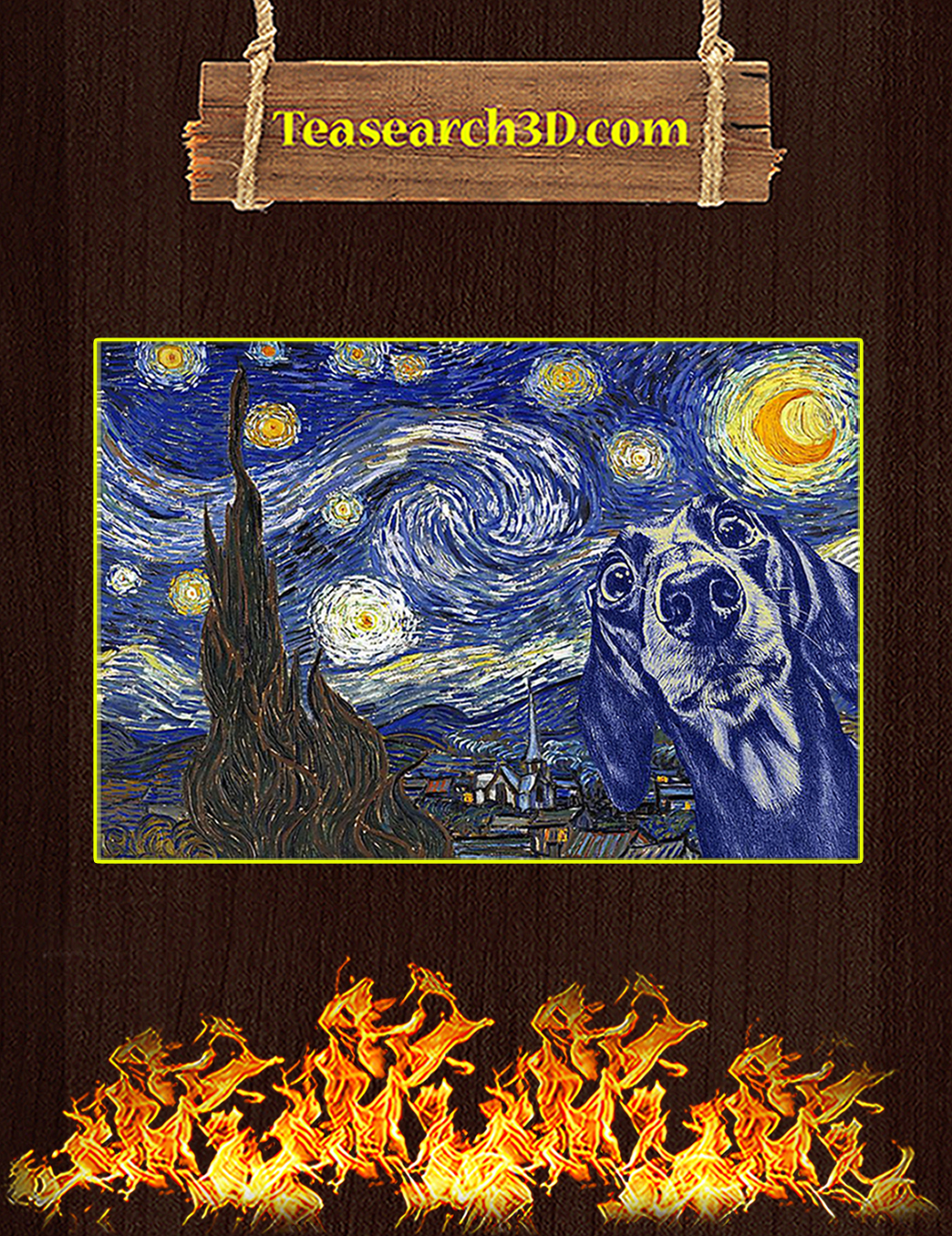 Dachshund van gogh starry night poster A1