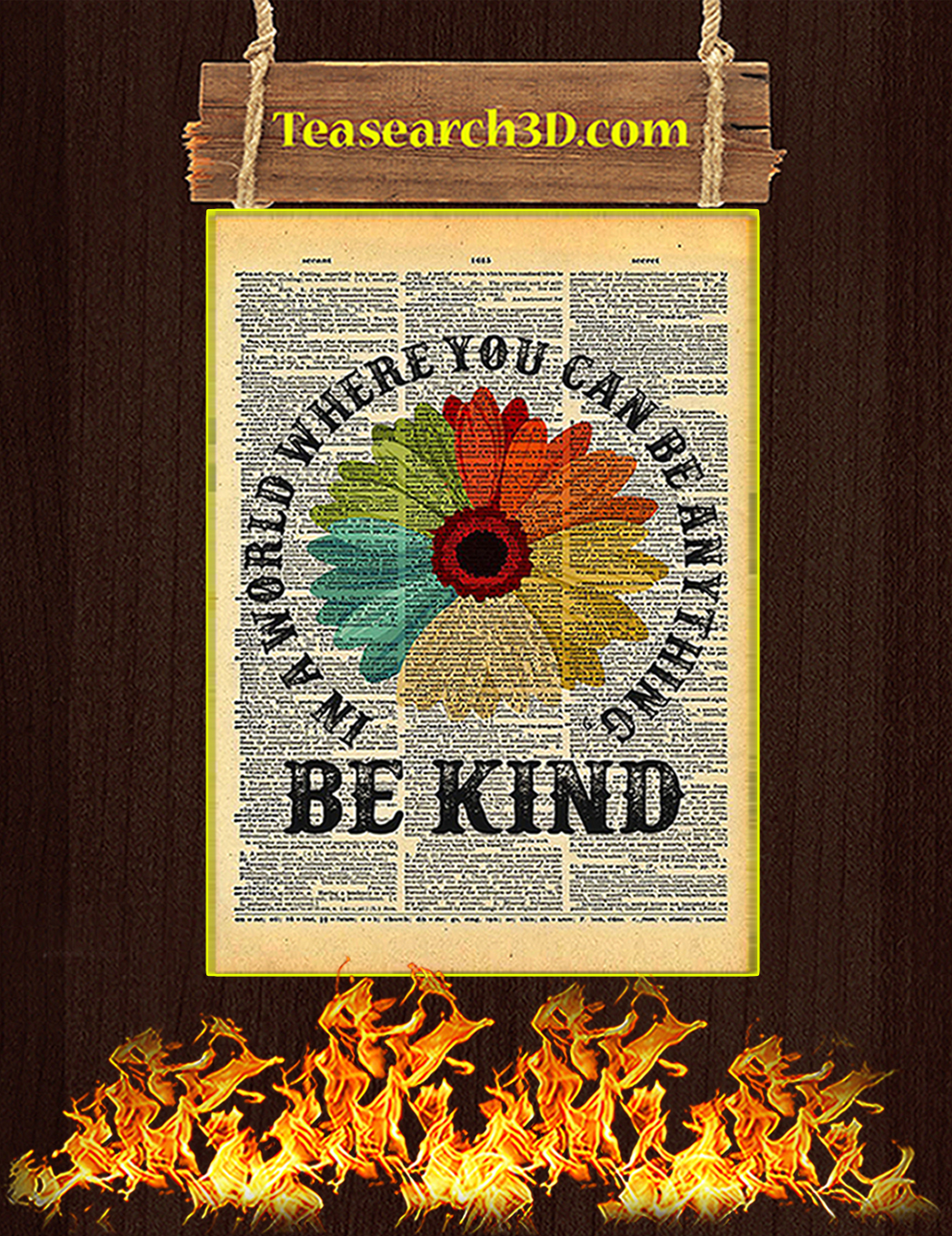 Daisy In A World Where You Can Be Anything Be Kind Poster A1