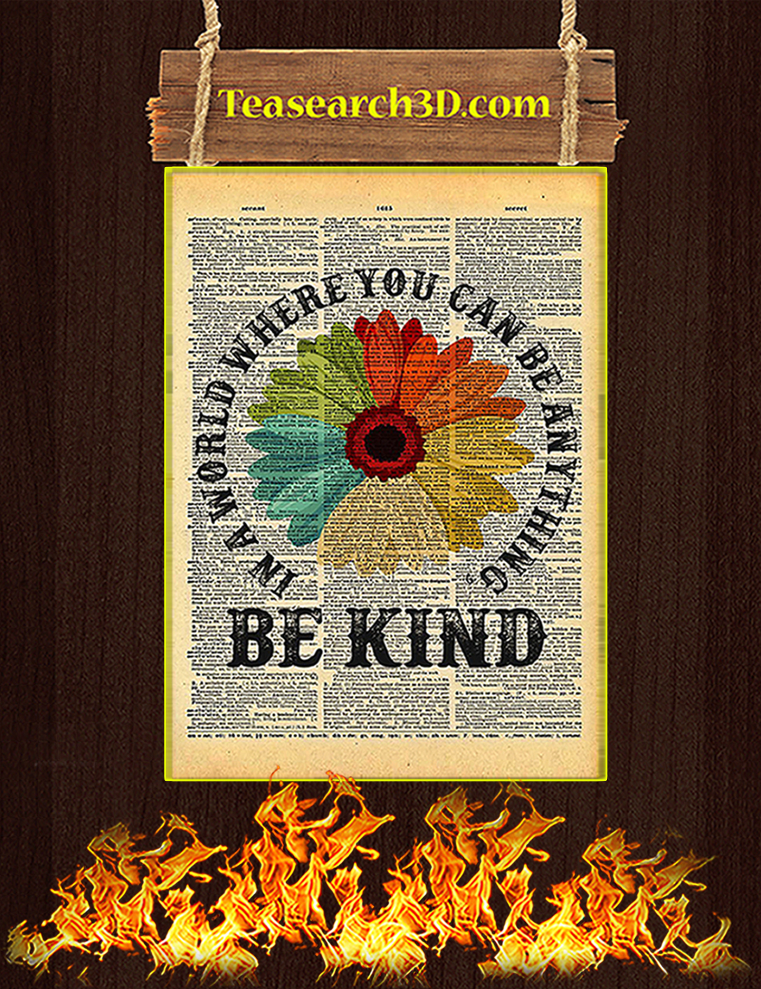 Daisy In A World Where You Can Be Anything Be Kind Poster A2
