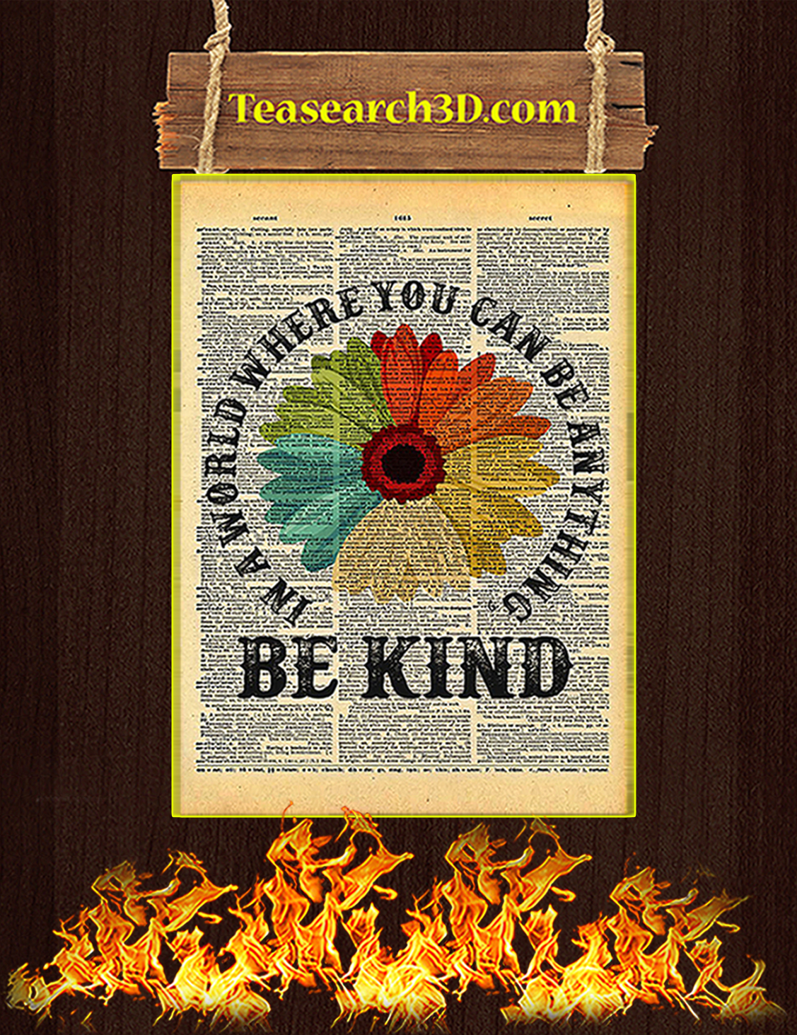 Daisy In A World Where You Can Be Anything Be Kind Poster A3