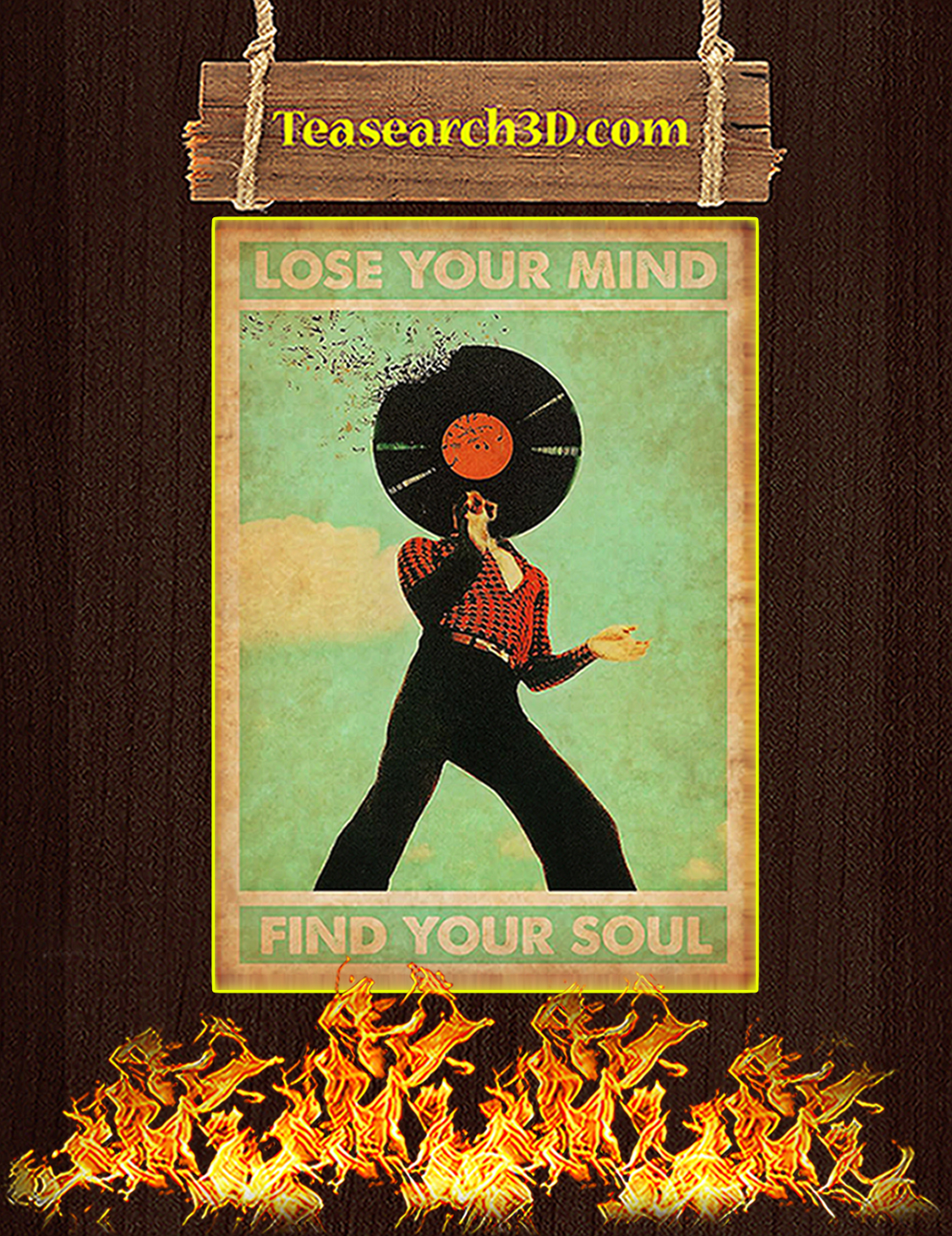 Disco DJ Lose your mind find you soul poster A3