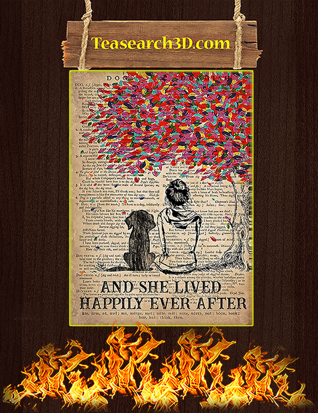 Dog And She Lived Happily Ever After Poster A3