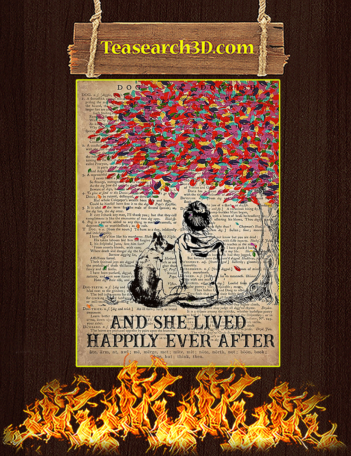 Dog K9 And she lived happily ever after poster A3