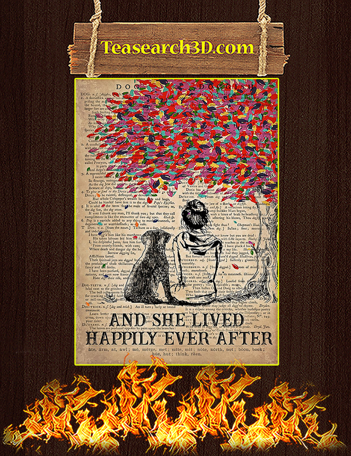 Dog labrador and she lived happily ever after poster A3