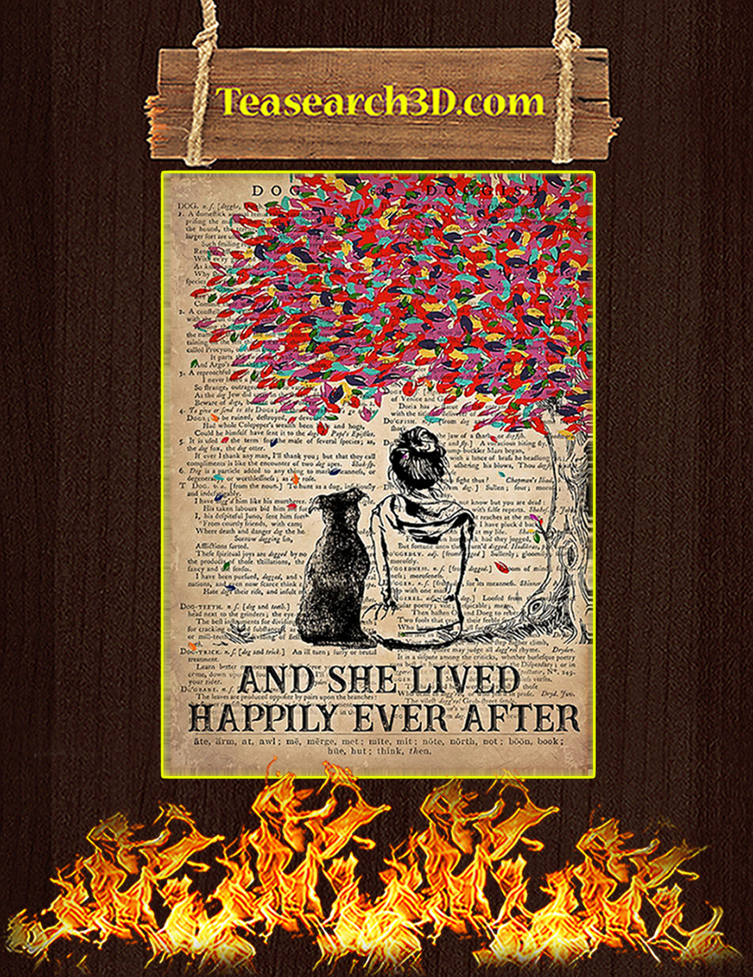 Dog pitbull and she lived happily ever after poster A2