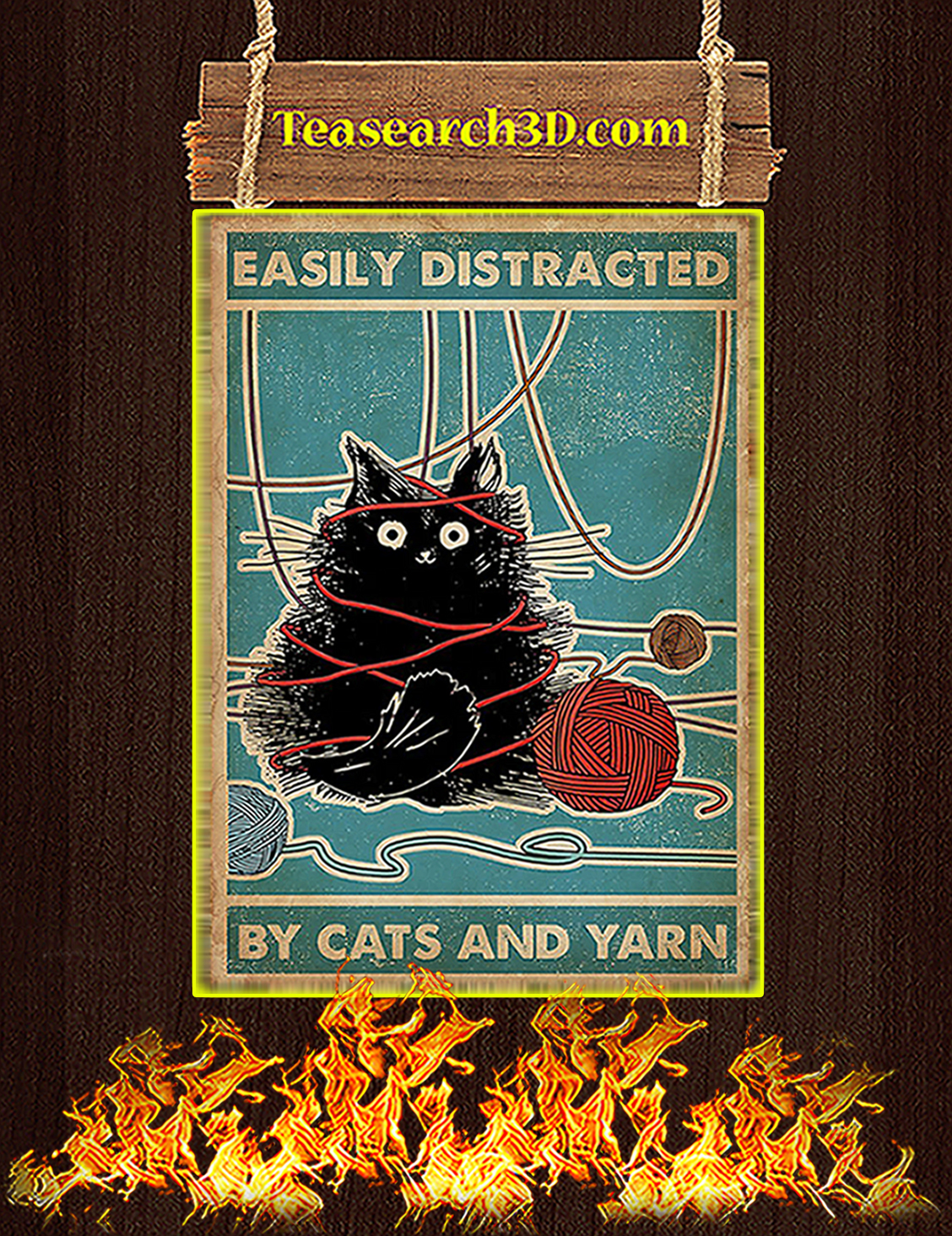 Easily Distracted By Cats And Yarn Poster A3