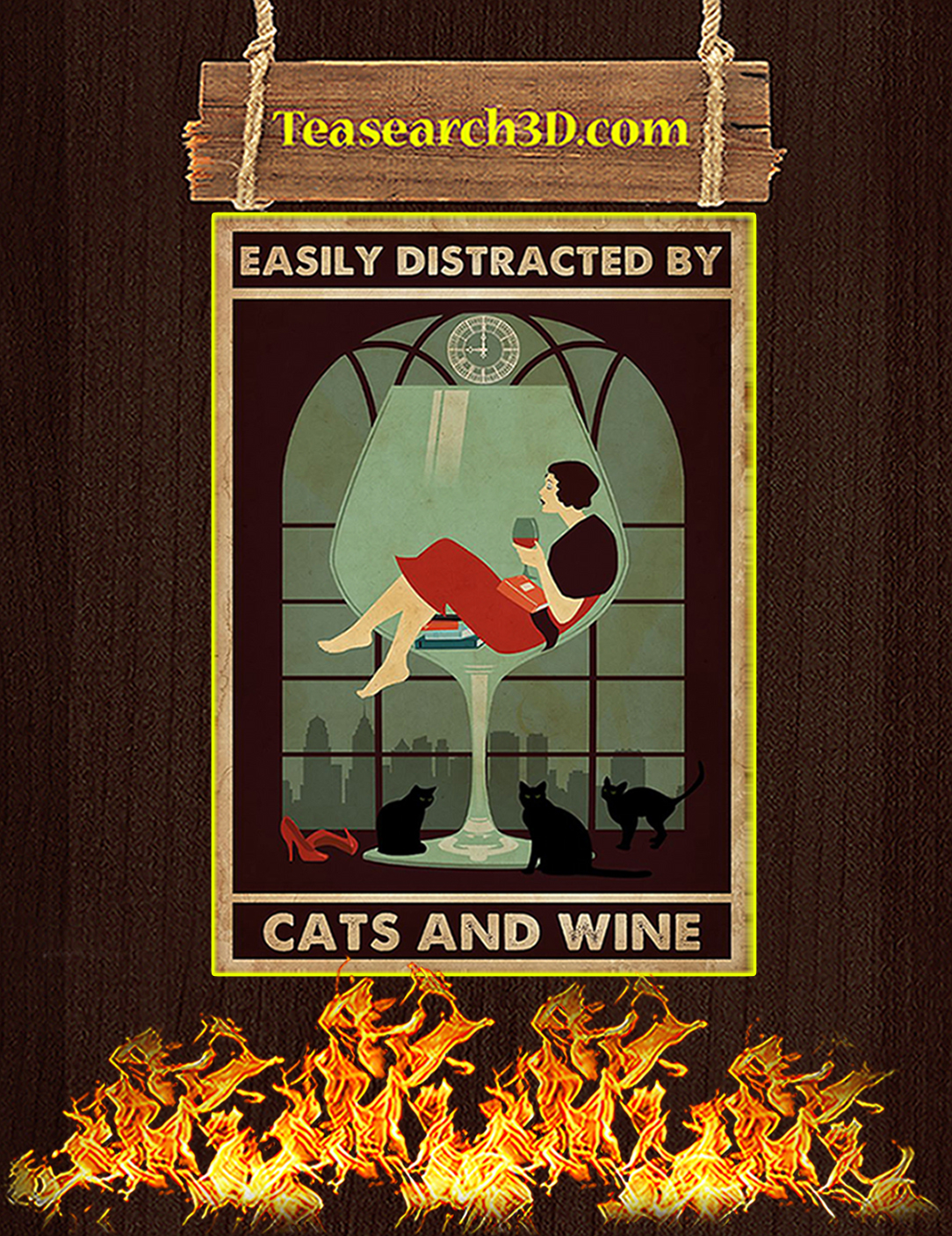 Easily distracted by cats and wine poster A2