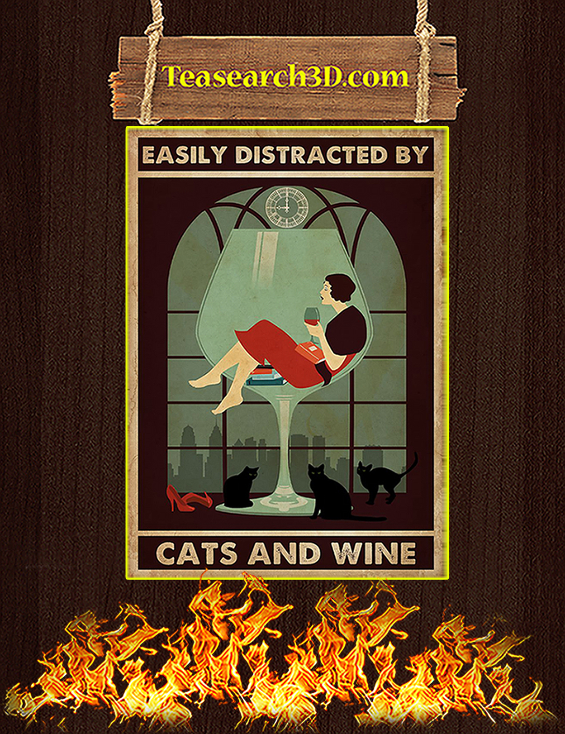 Easily distracted by cats and wine poster A3