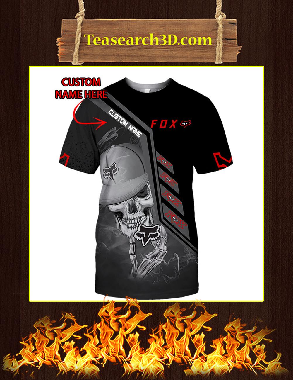 Fox Racing Skull Personalized Custom Name 3D T-shirt