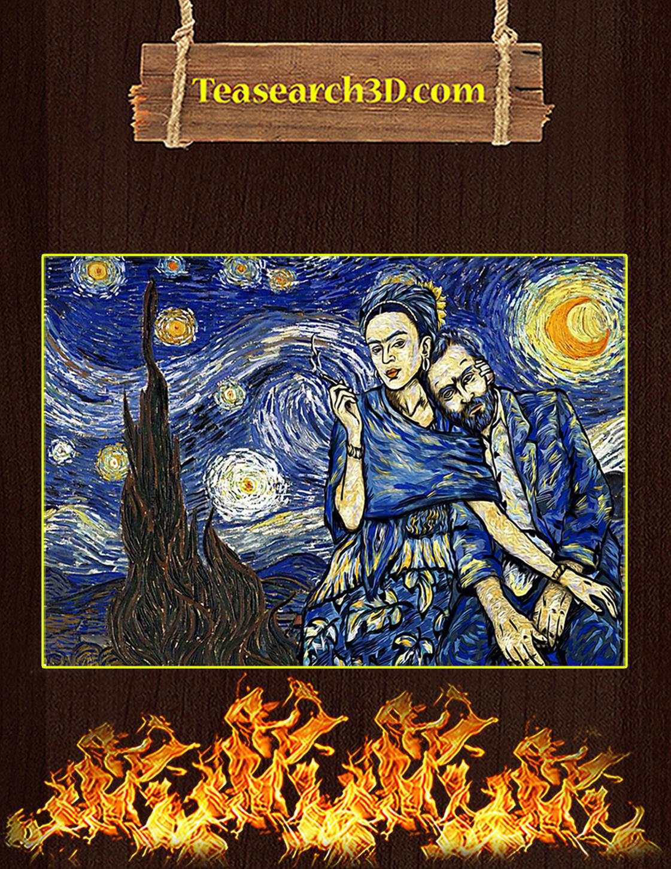 Frida Kahlo Van Gogh Starry Night Poster A3