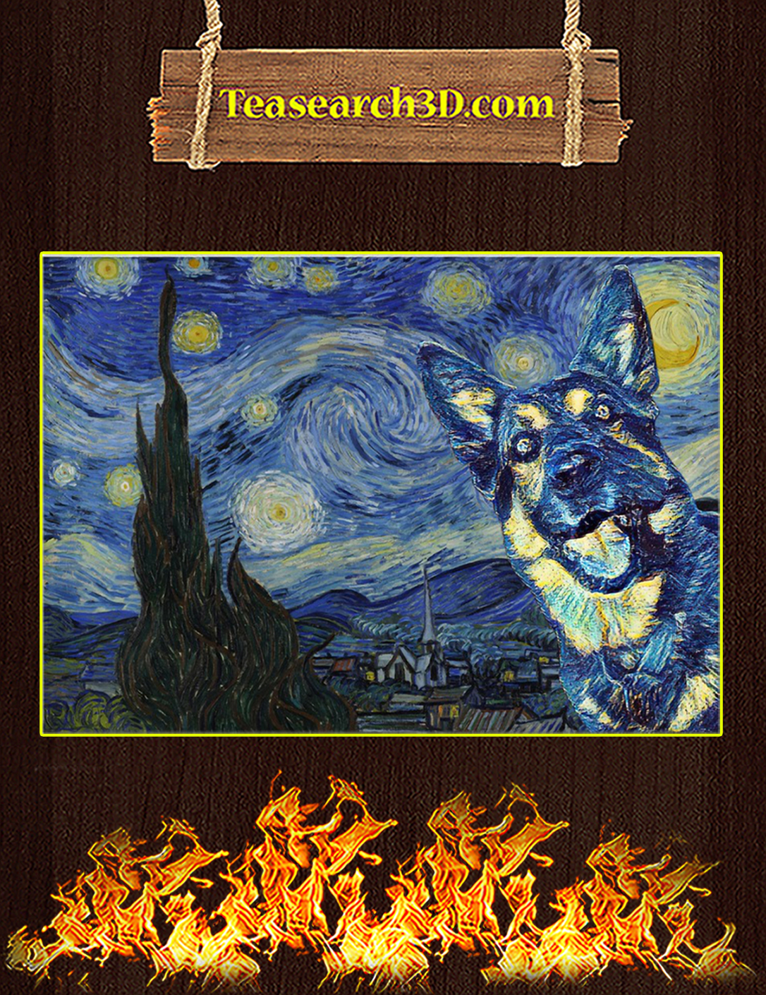 German Shepherd Starry Night Poster A2