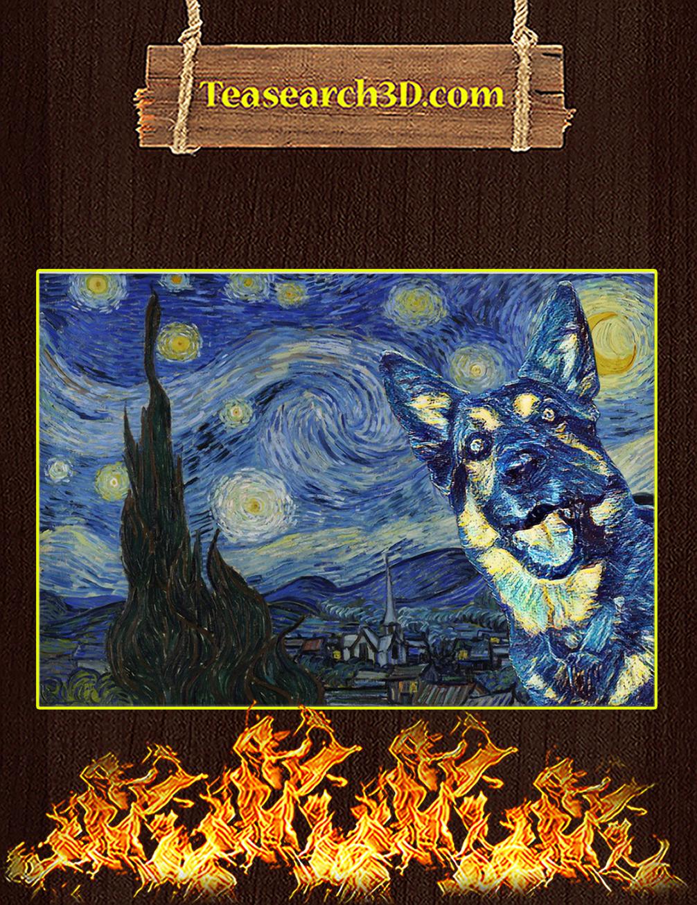 German Shepherd Starry Night Poster