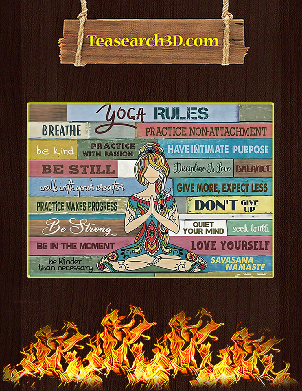 Girl Yoga Rules Poster A3