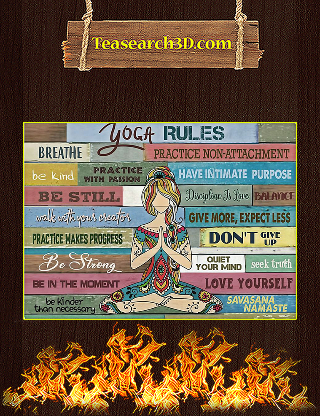 Girl yoga rules poster A2