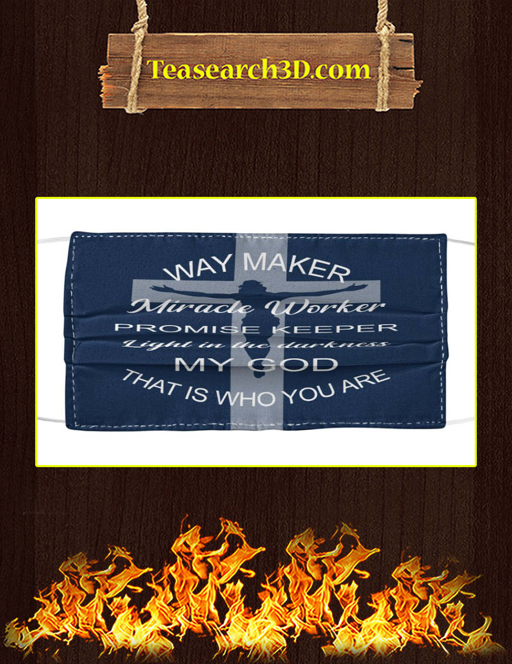 God way maker miracle worker cloth face mask