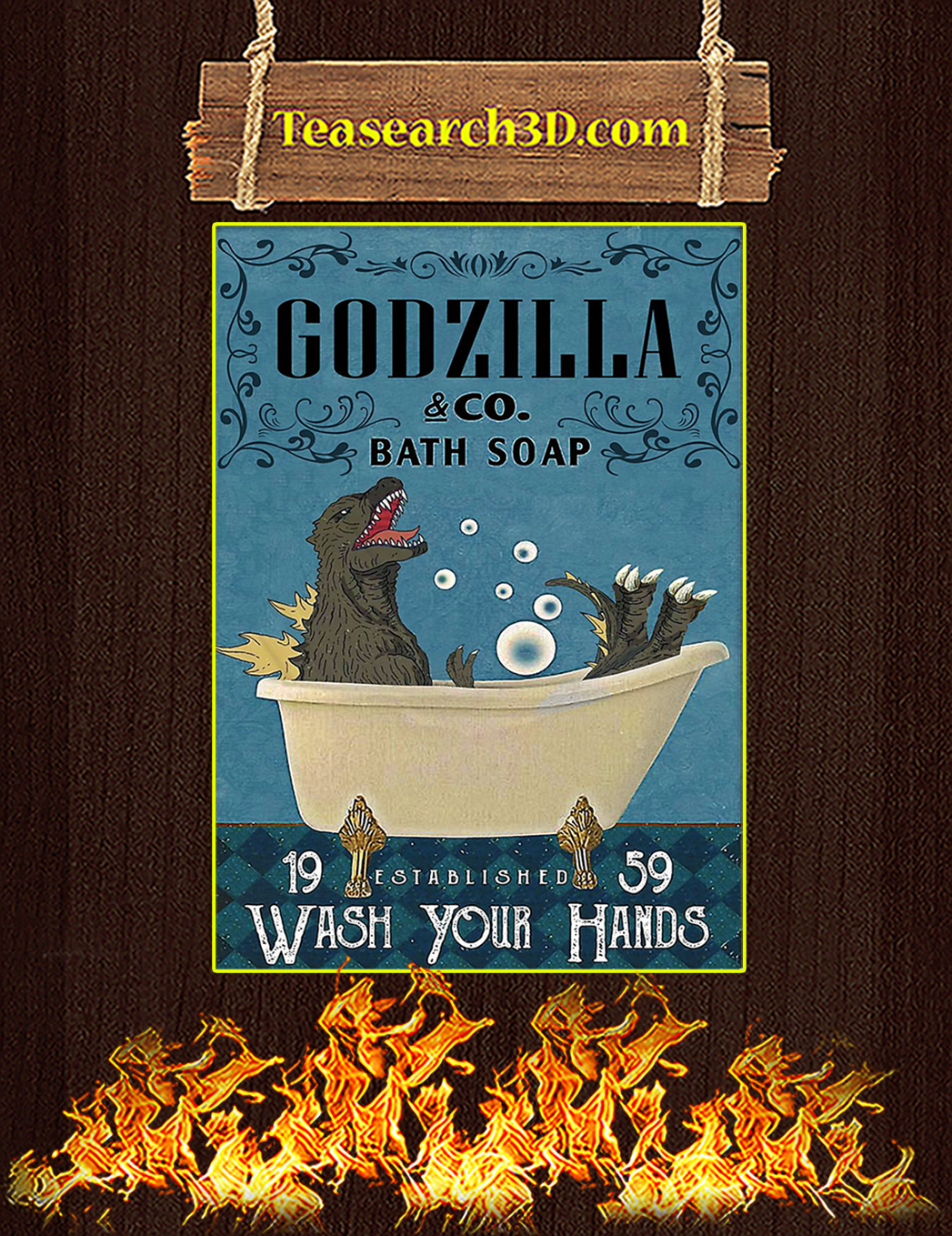 Godzilla co bath soap wash your hands poster A1