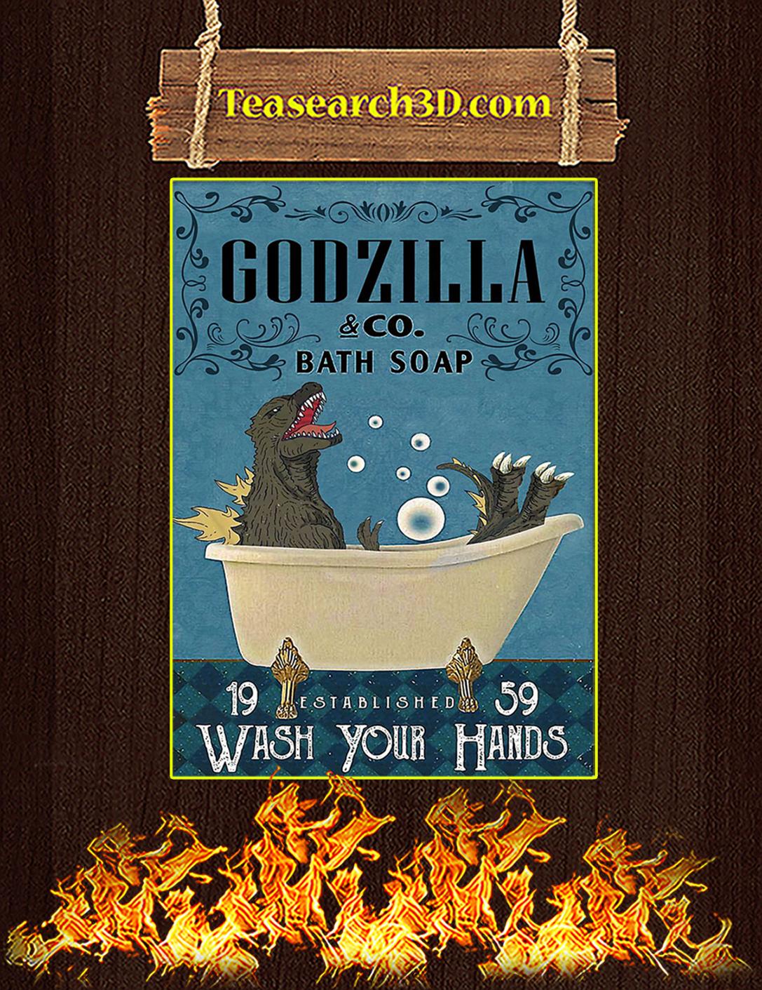 Godzilla co bath soap wash your hands poster A2
