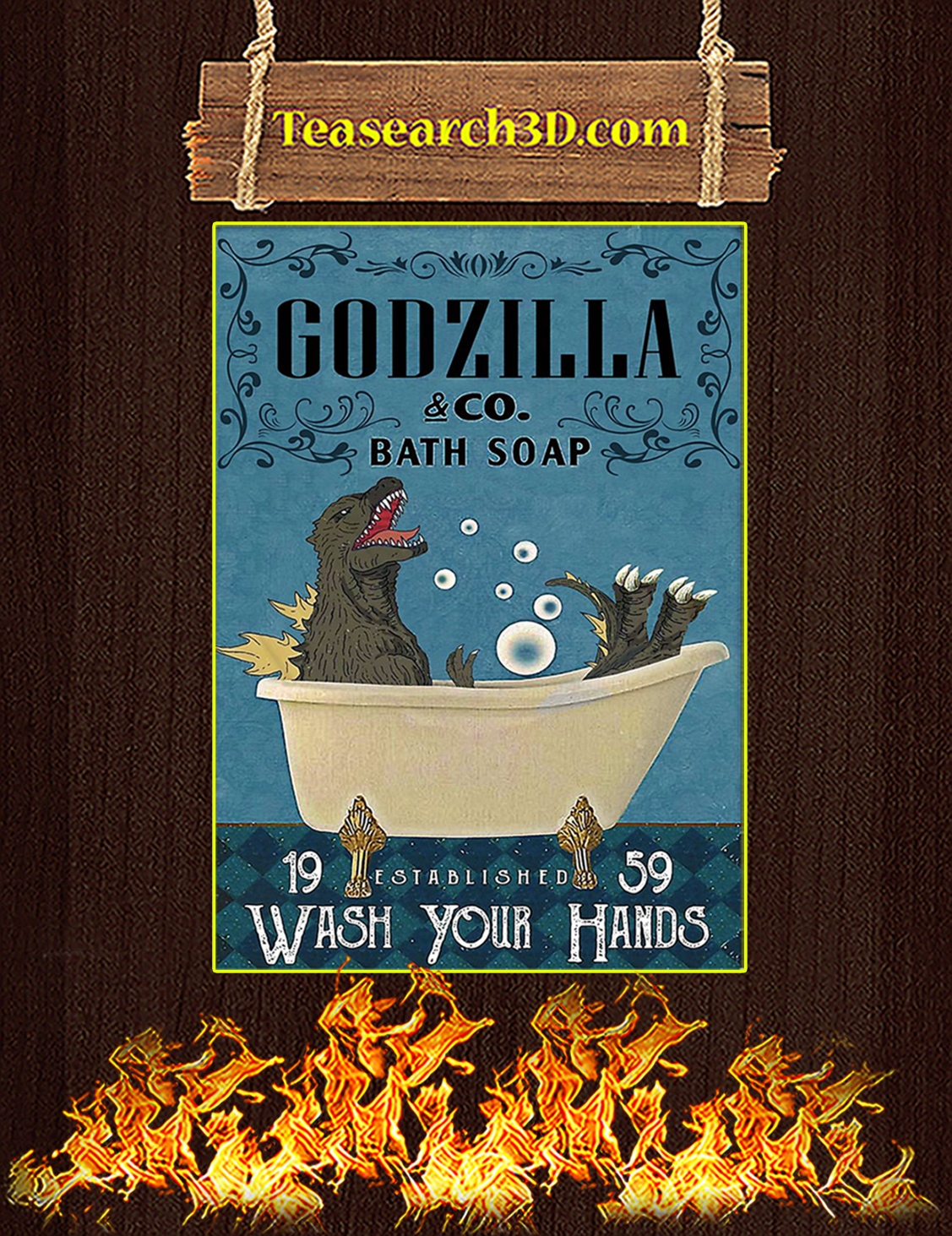 Godzilla co bath soap wash your hands poster A3