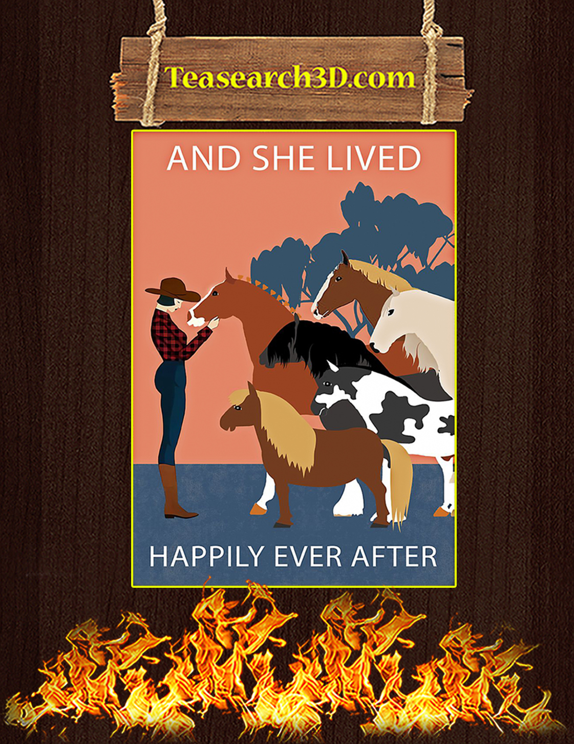 Horse And she lived happily ever after poster A3