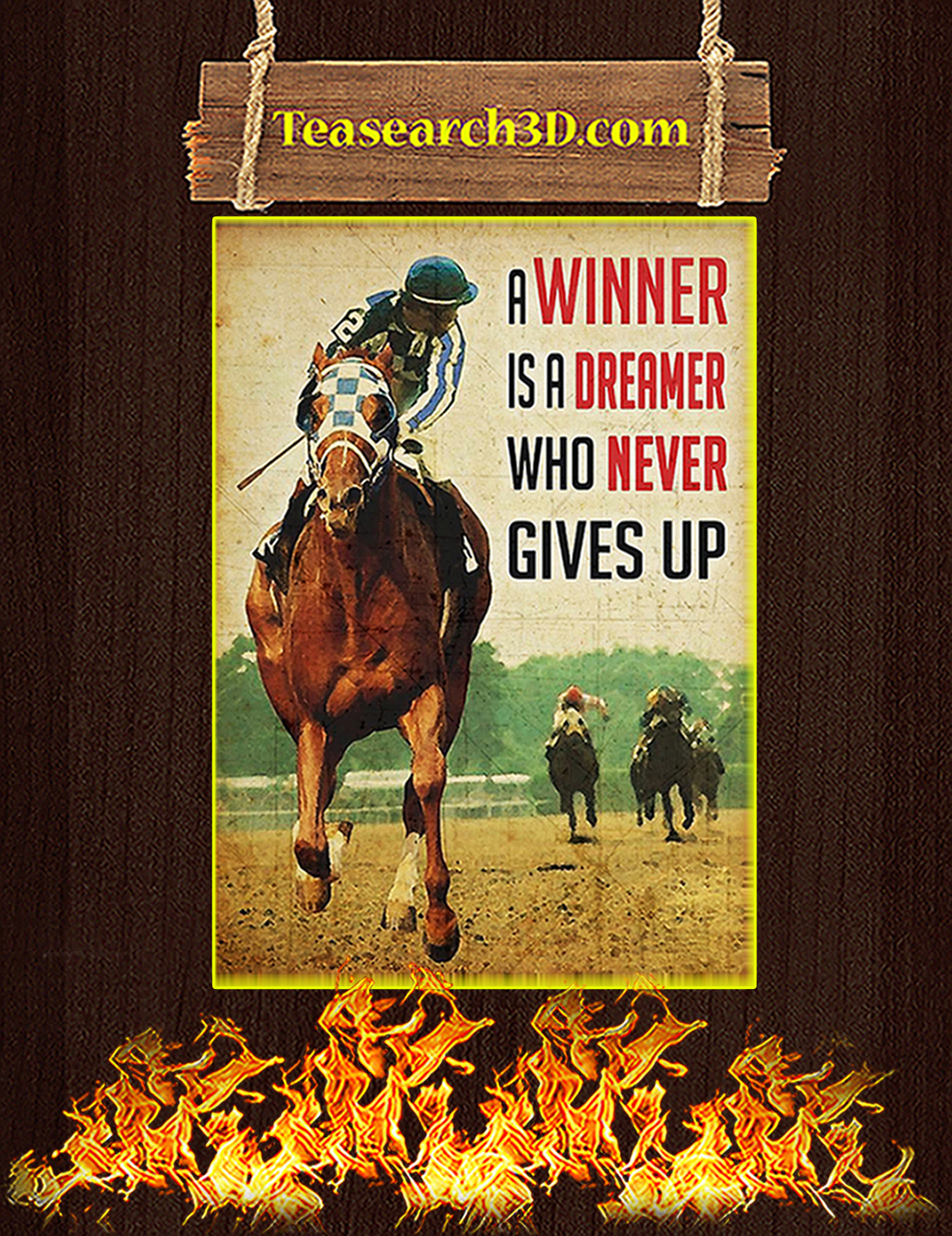 Horse racing A winner is a dreamer poster A3