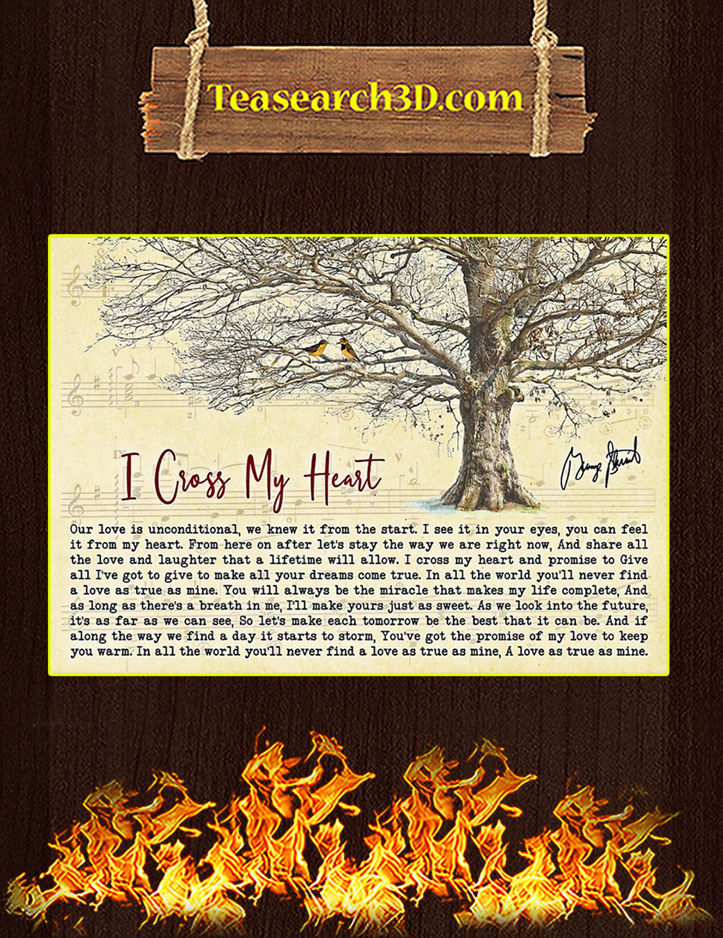 I Cross My Heart Tree George Strait Signature Poster A1