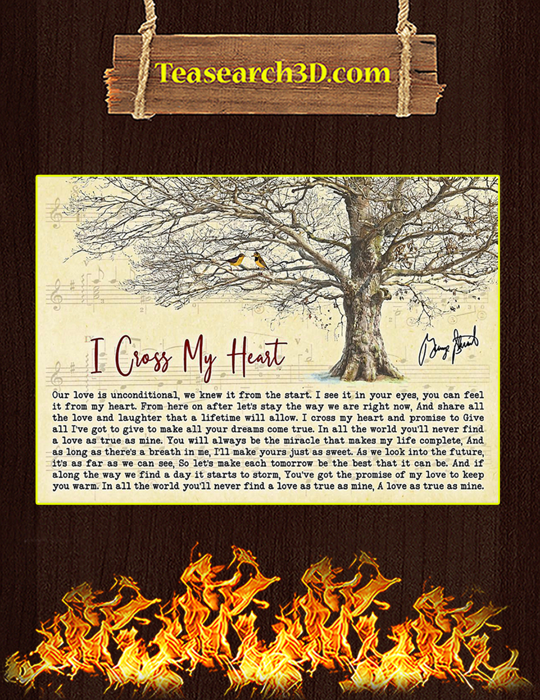 I Cross My Heart Tree George Strait Signature Poster A2