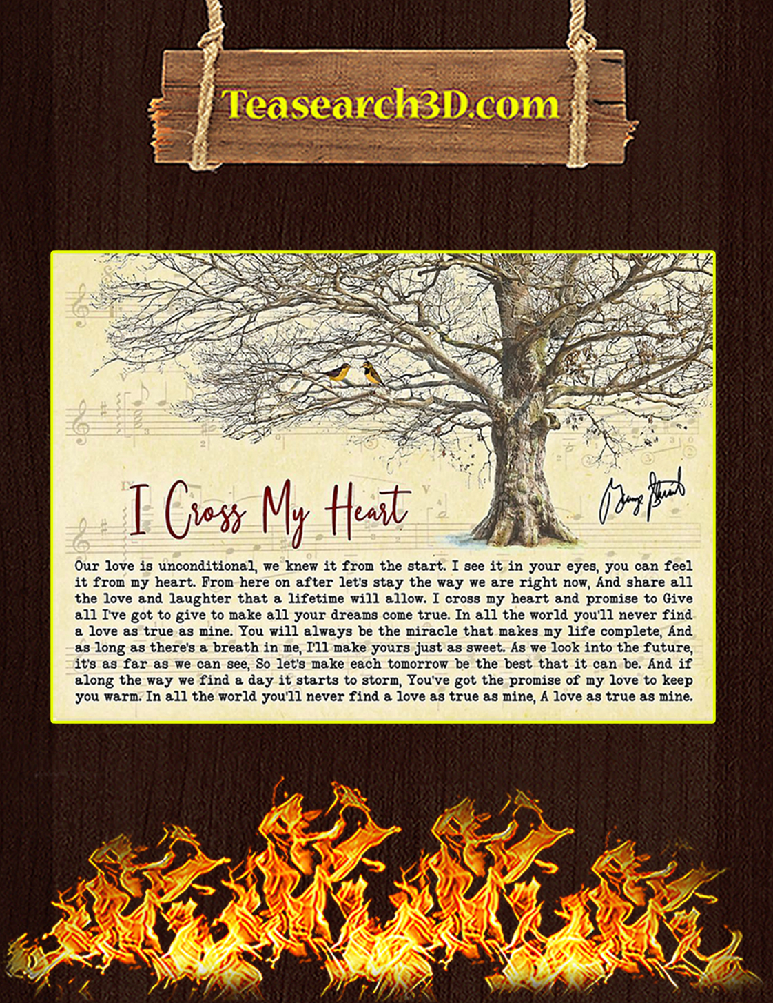 I Cross My Heart Tree George Strait Signature Poster A3
