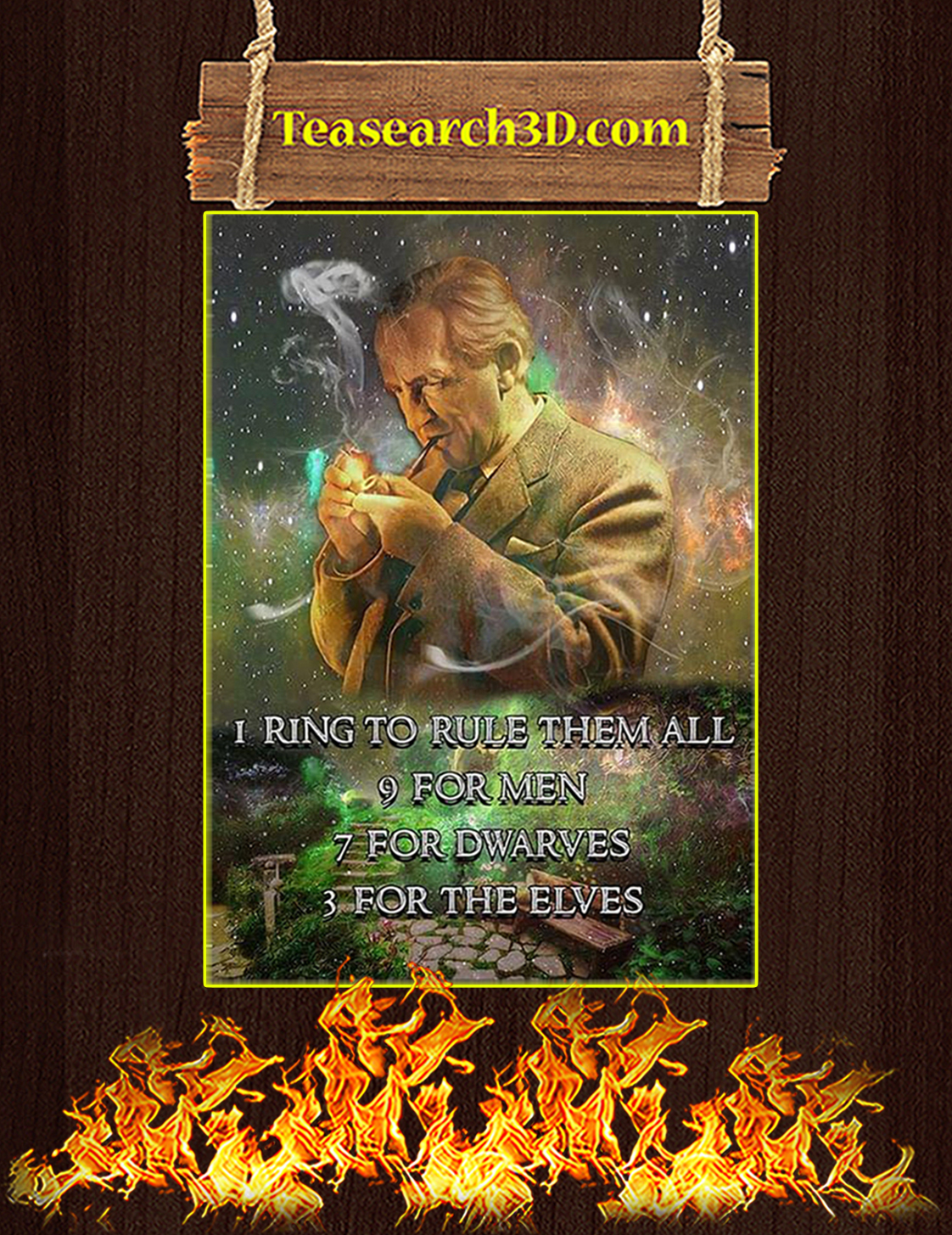 JRR Tolkien I ring to rule them all poster A3
