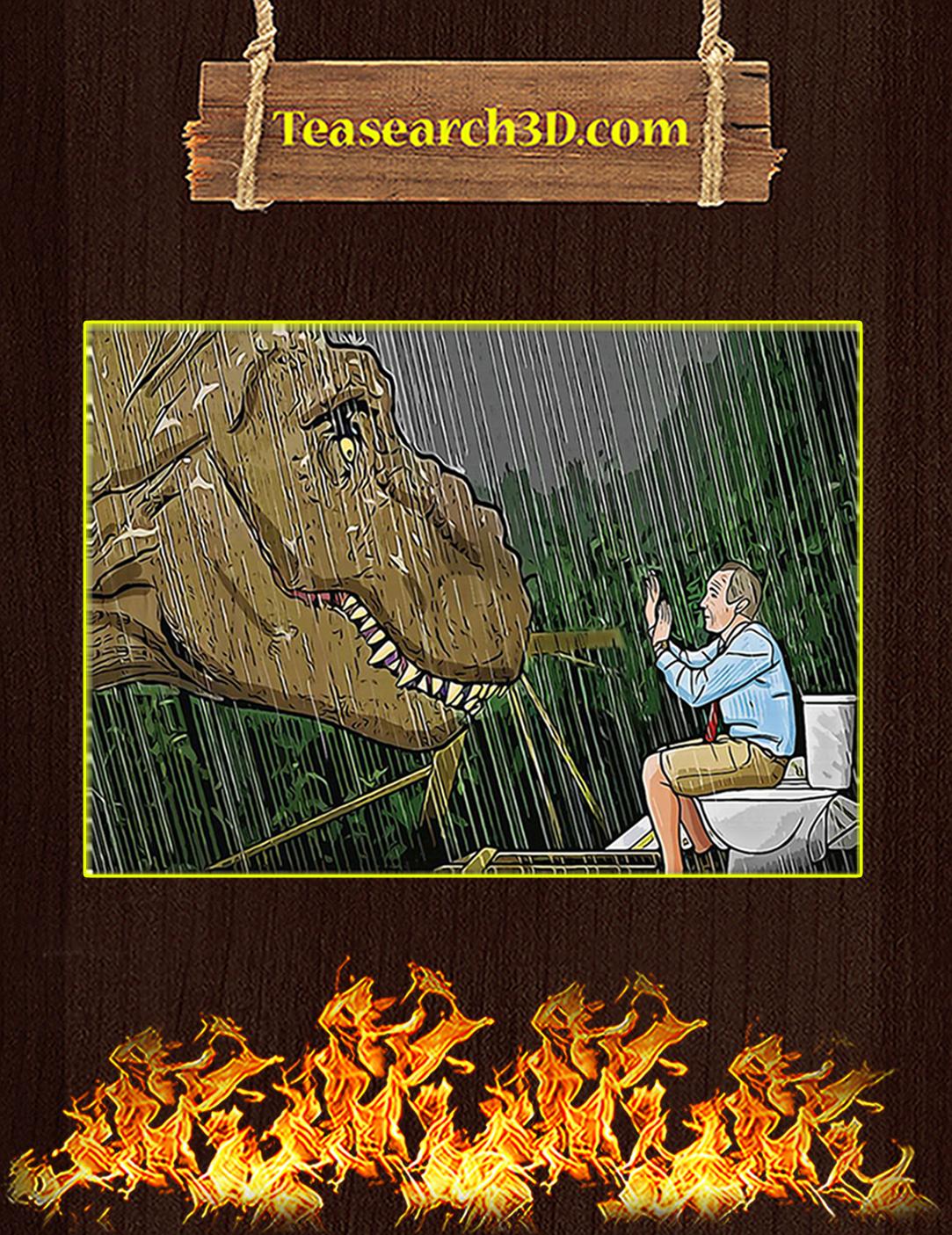 Jurassic park T-rex toilet scene poster A2