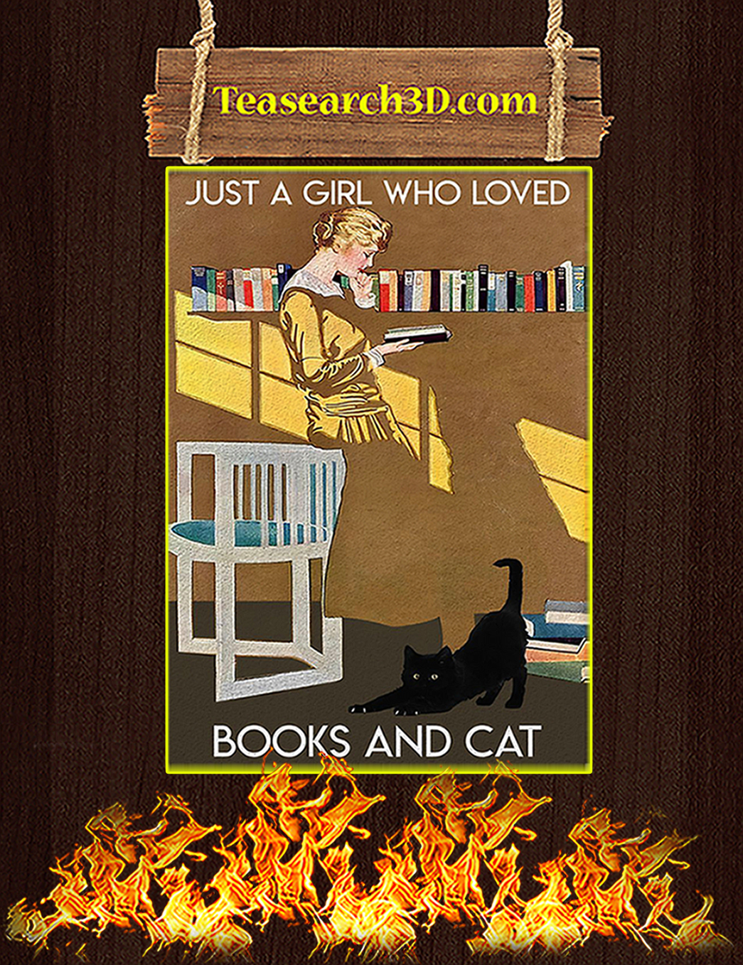 Just a girl who loved books and cat poster A1