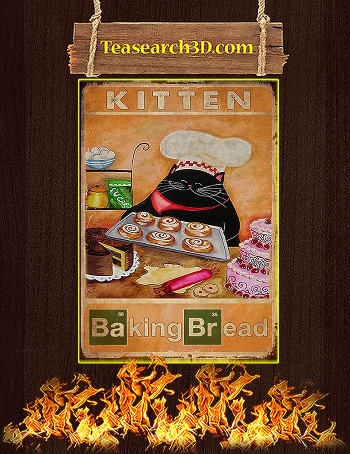 Kitten baking bread poster A3
