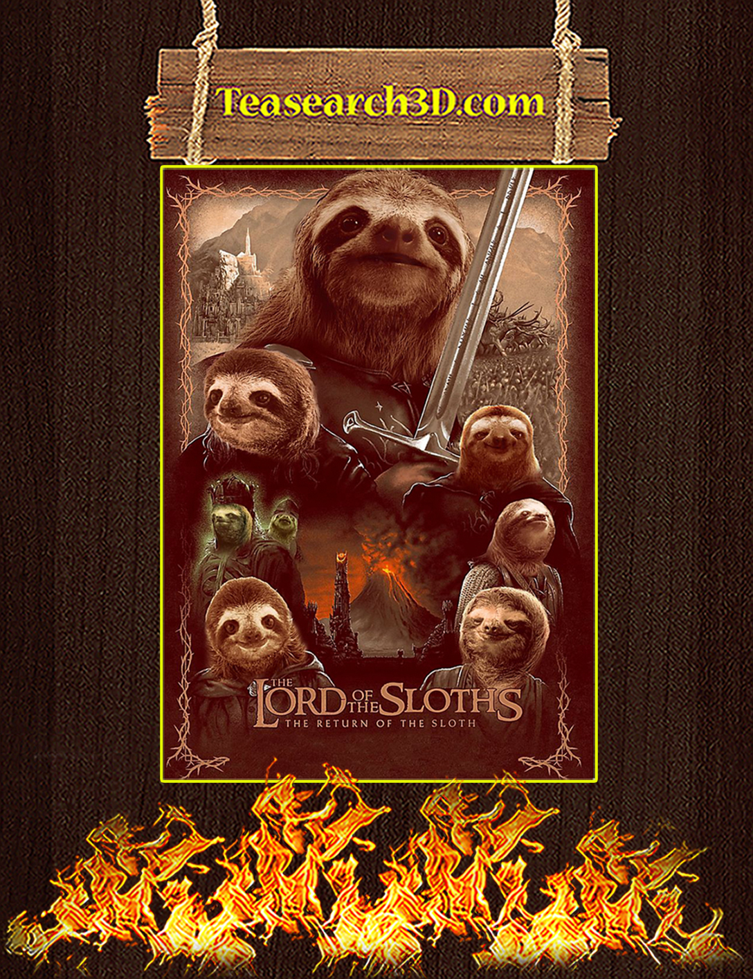 Lord of the sloths parody poster A2
