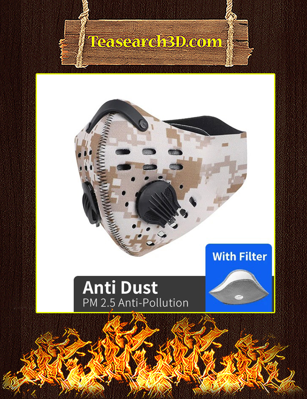 Marine Camo Filter Activated Carbon Pm 2.5 Fm Face Mask