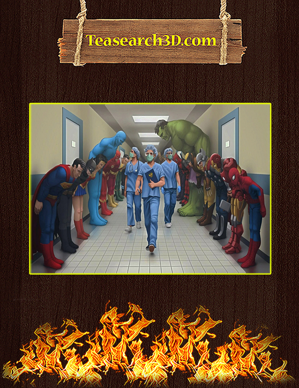 Medical team nurse superheroes poster A1
