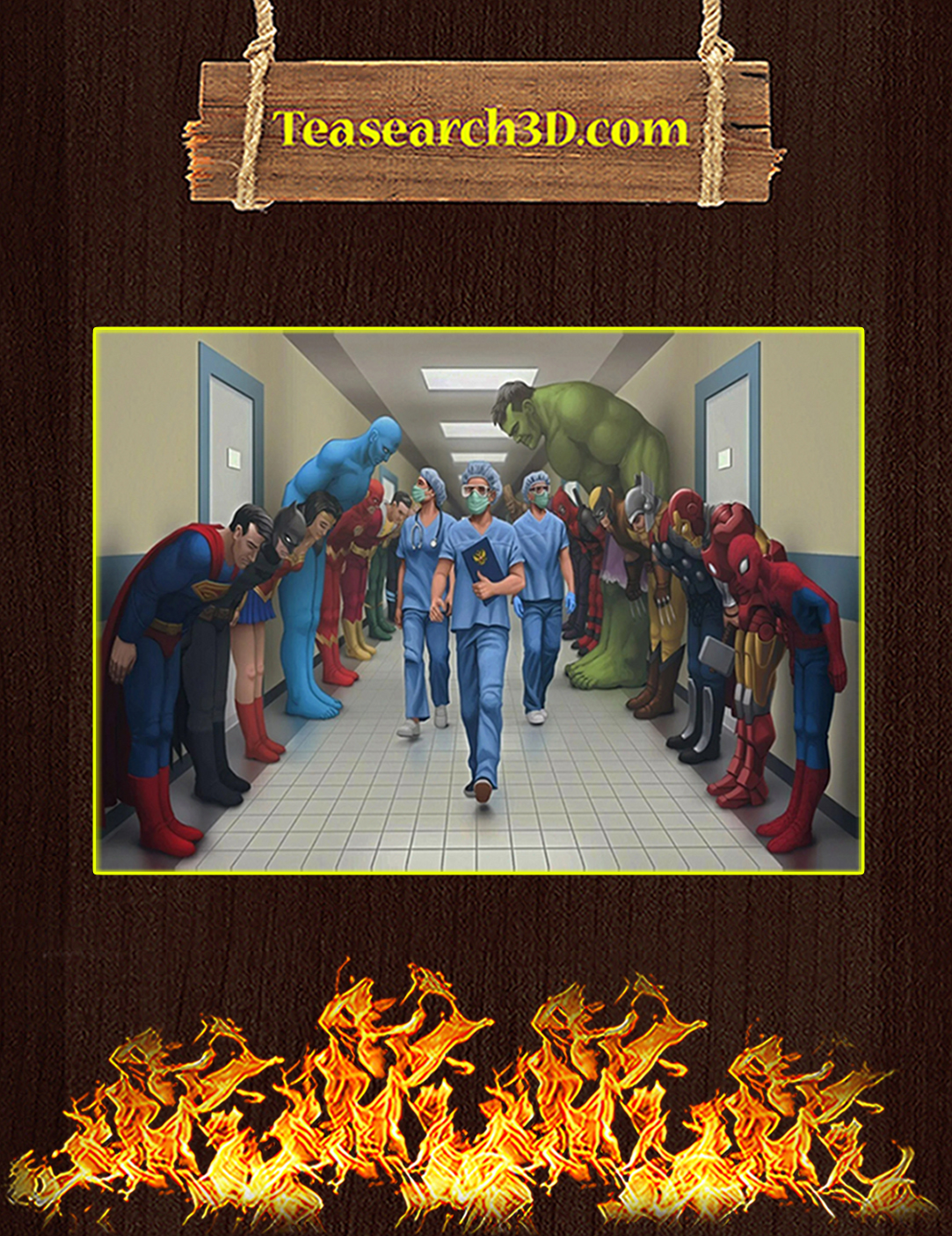 Medical team nurse superheroes poster A2