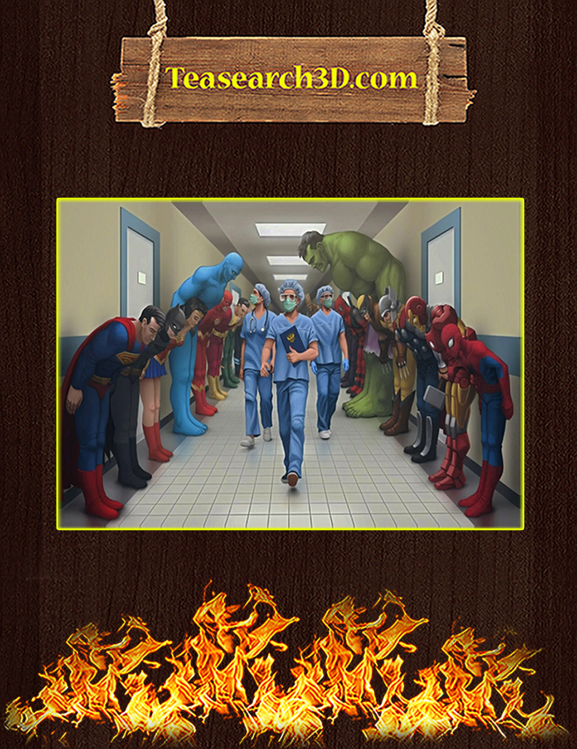 Medical team nurse superheroes poster A3